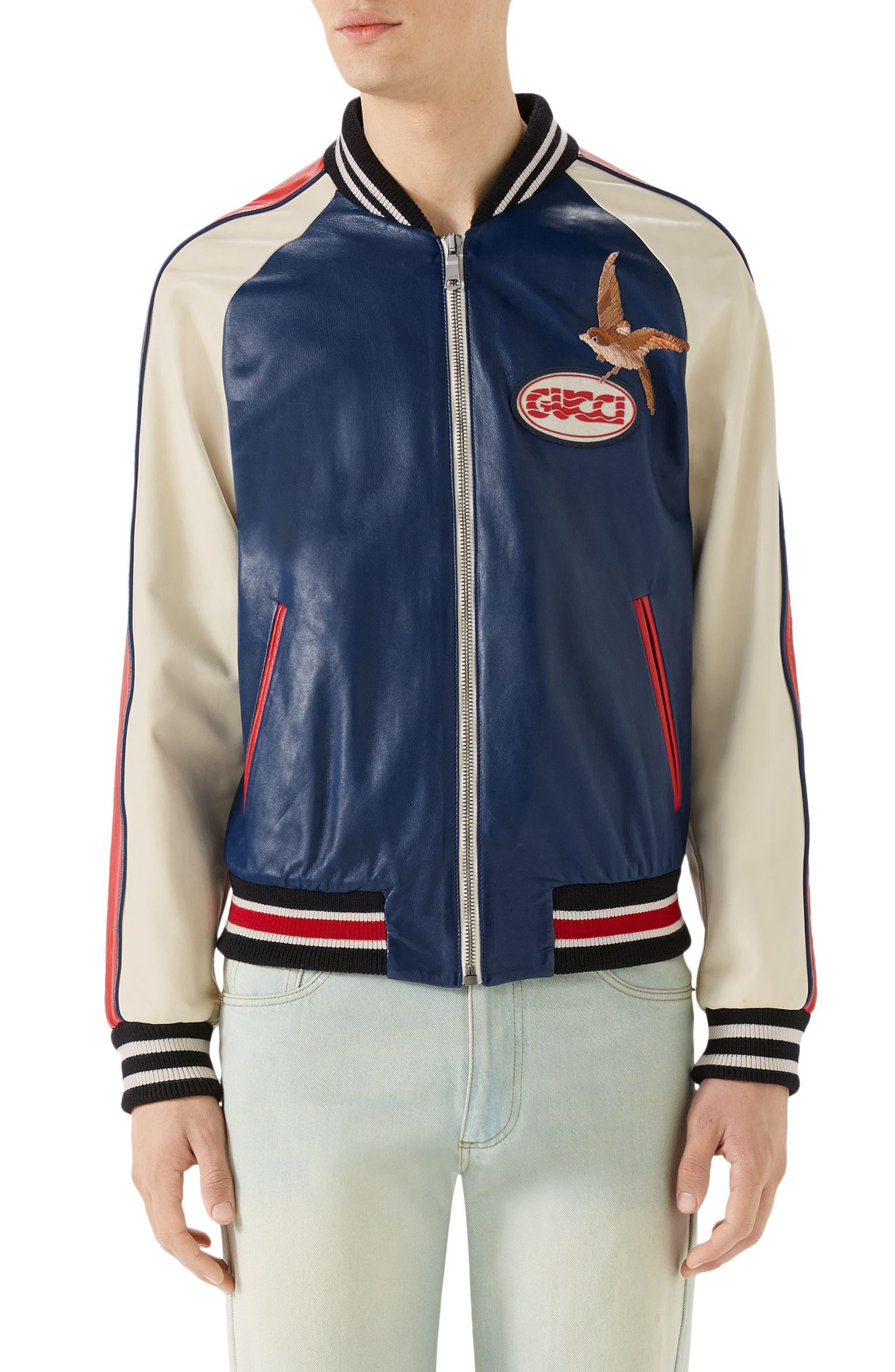 Multicolor Leather Bomber Jacket,                             Alternate thumbnail 4, color,                             Cobalt Blue