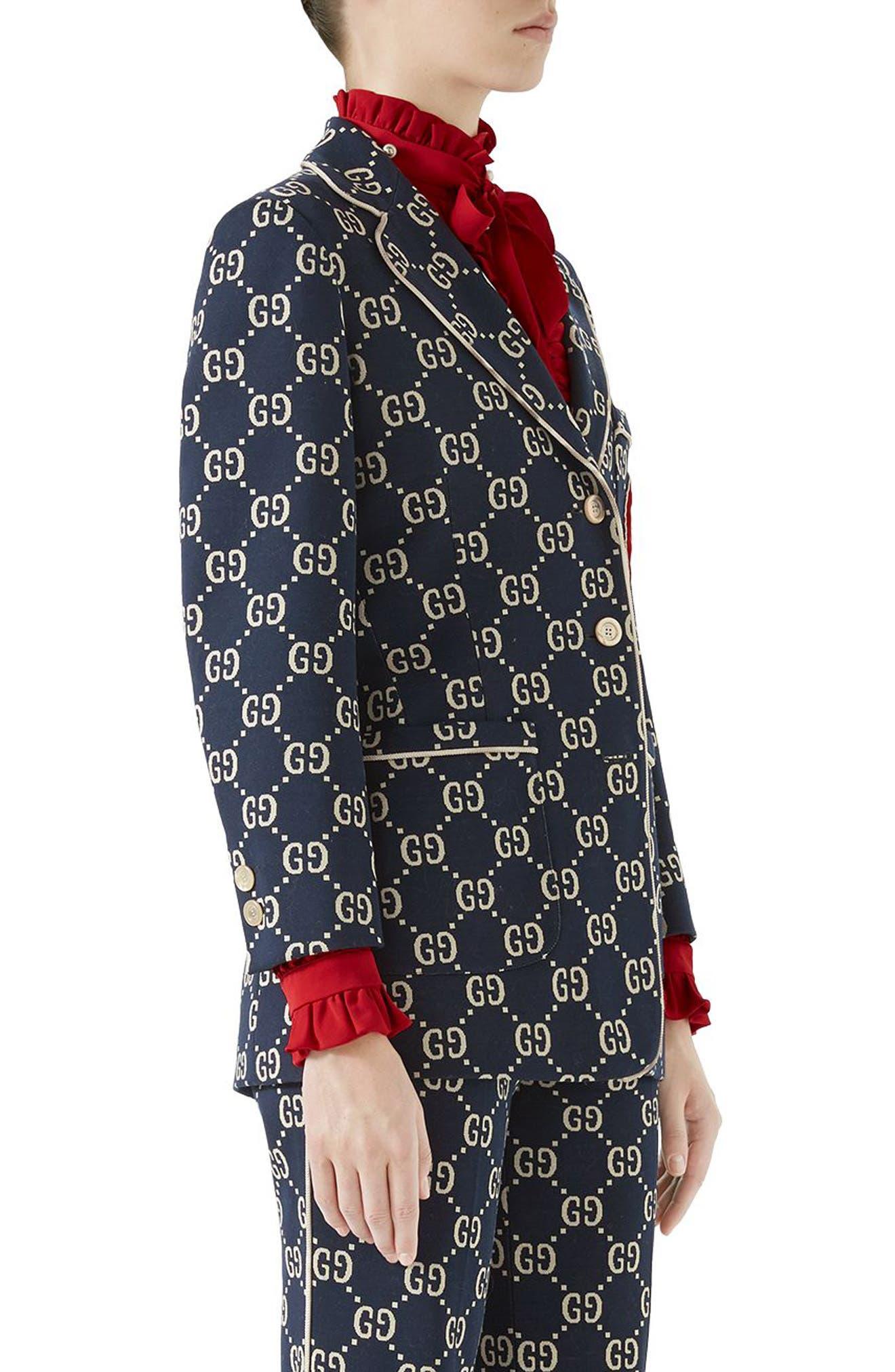GG Embroidered Jersey Blazer,                             Alternate thumbnail 3, color,                             Caspian/ Multicolor
