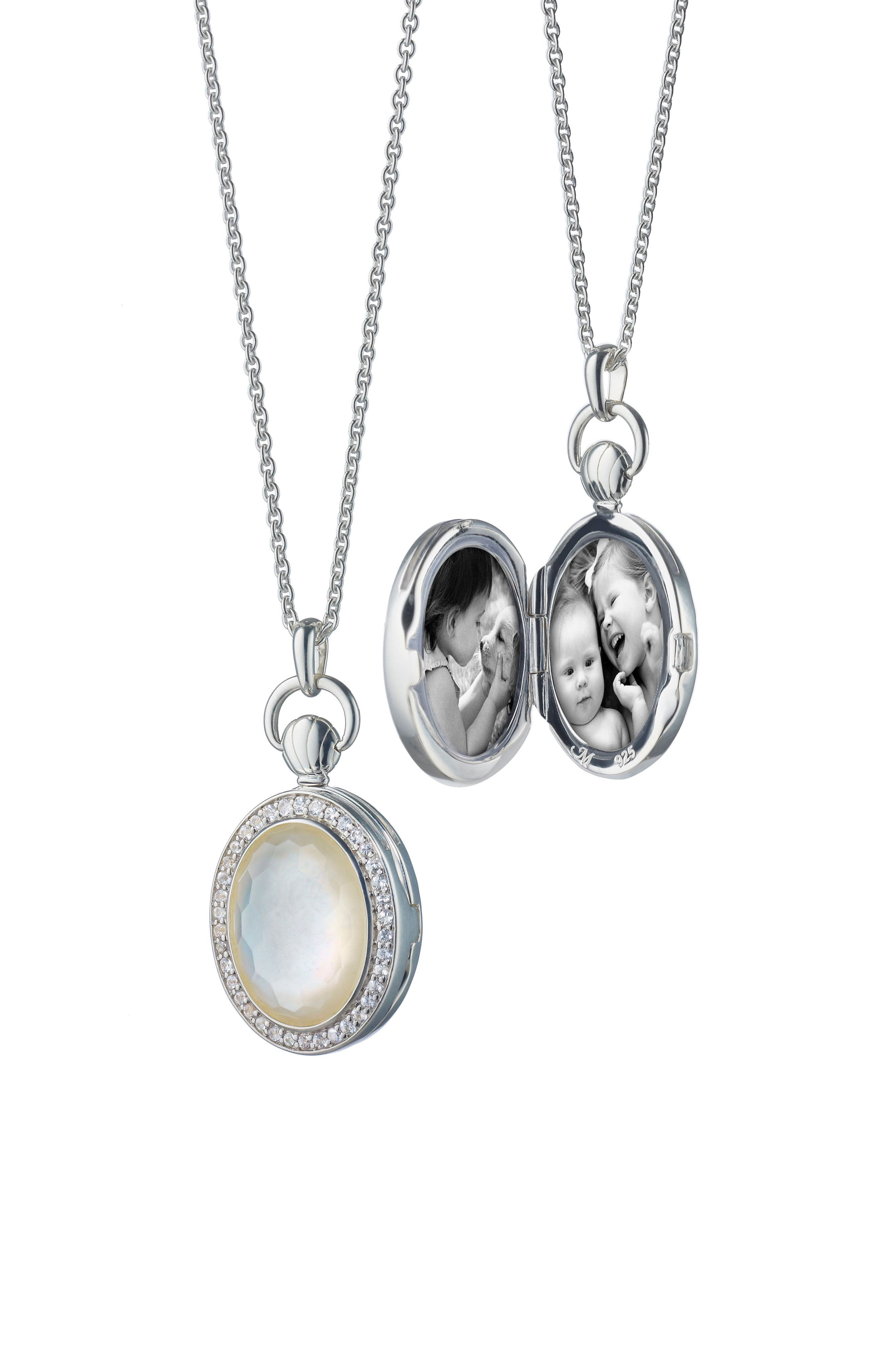 Rock Crystal Oval Locket Necklace,                             Main thumbnail 1, color,                             Sterling Silver