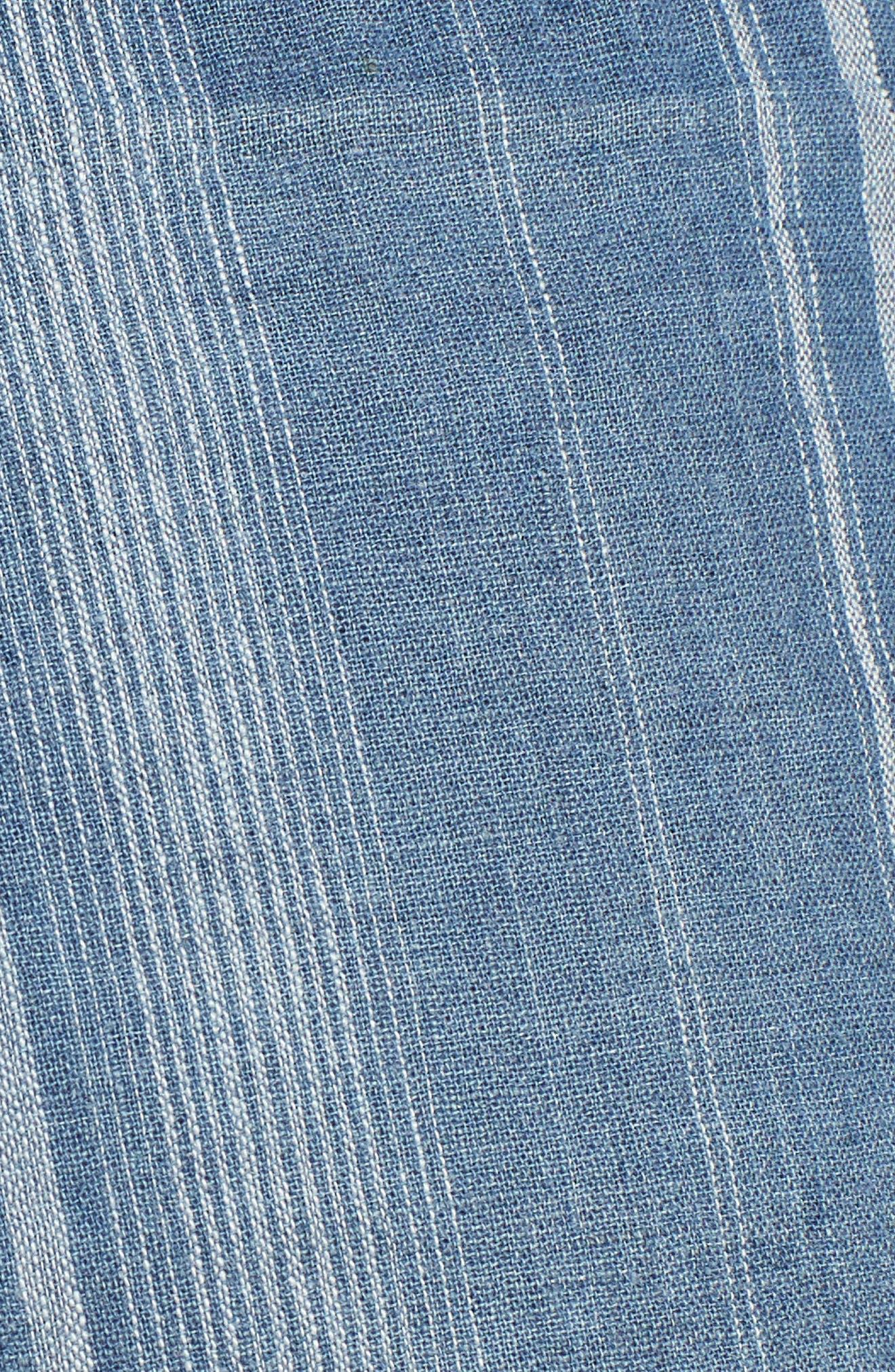 High Rise Striped Shorts,                             Alternate thumbnail 5, color,                             Blue Stripe