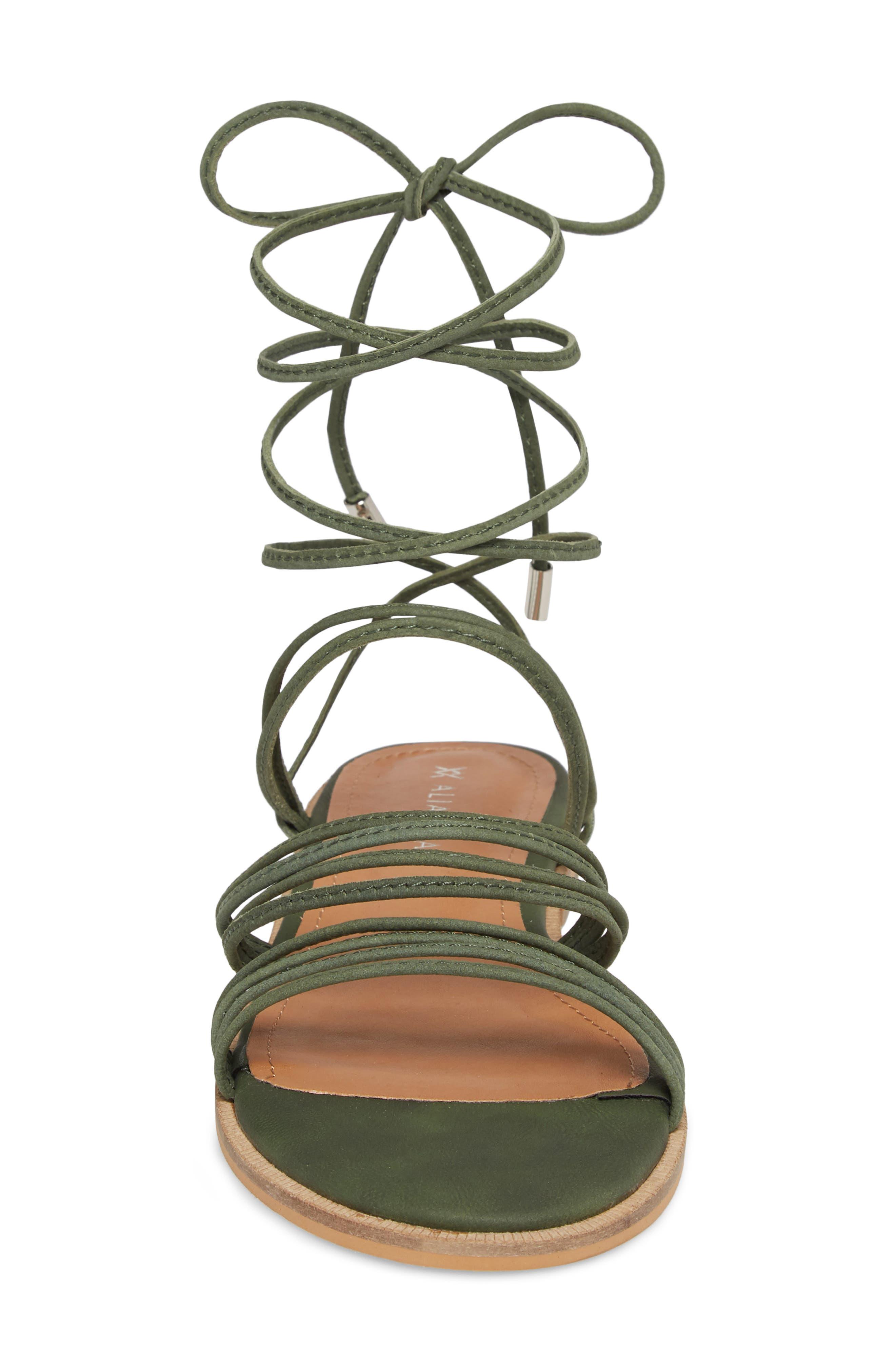 Theory Strappy Flat Sandal,                             Alternate thumbnail 4, color,                             Khaki Leather