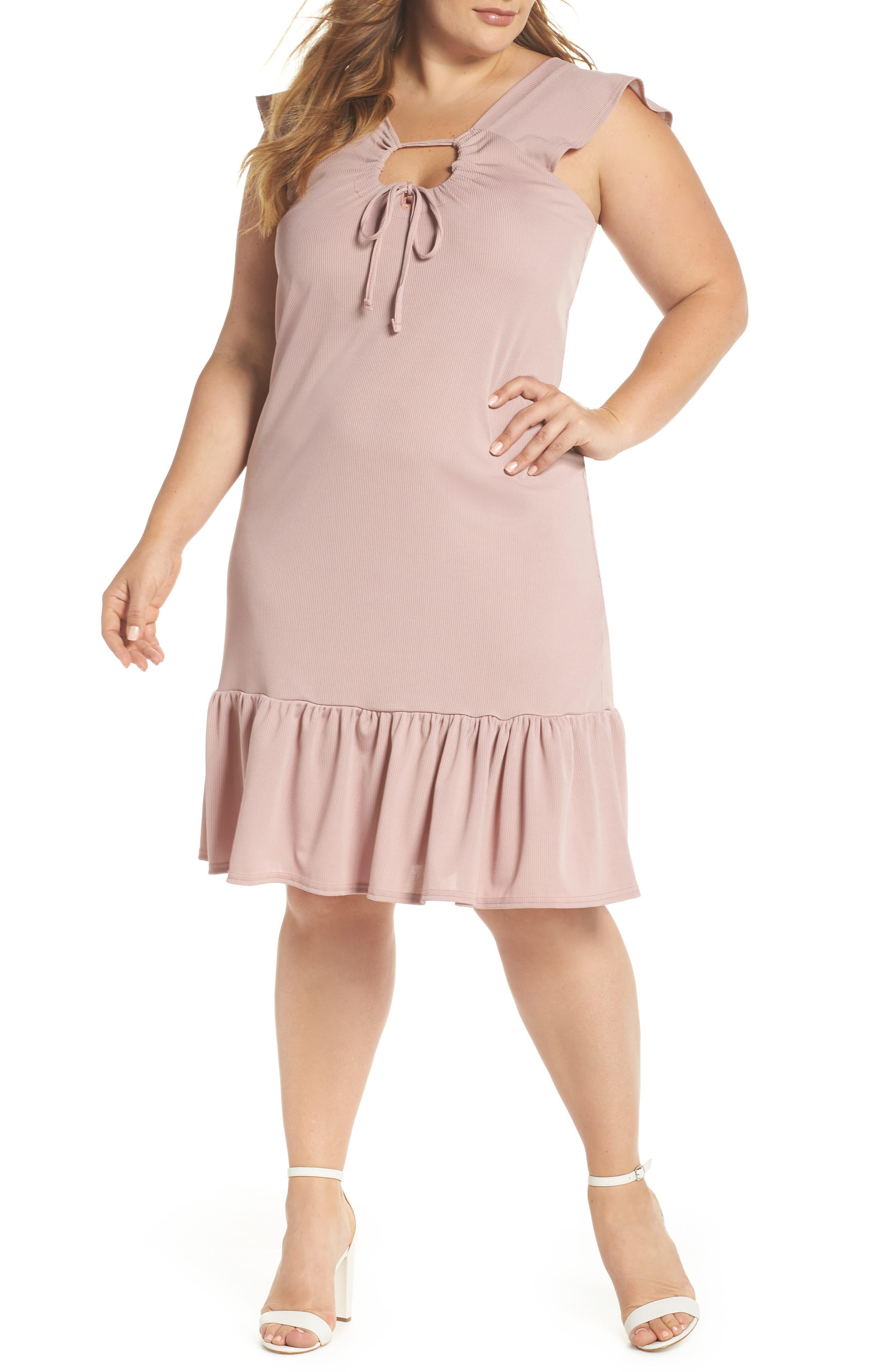 Rib Knit Swing Dress,                             Main thumbnail 1, color,                             Light Purple