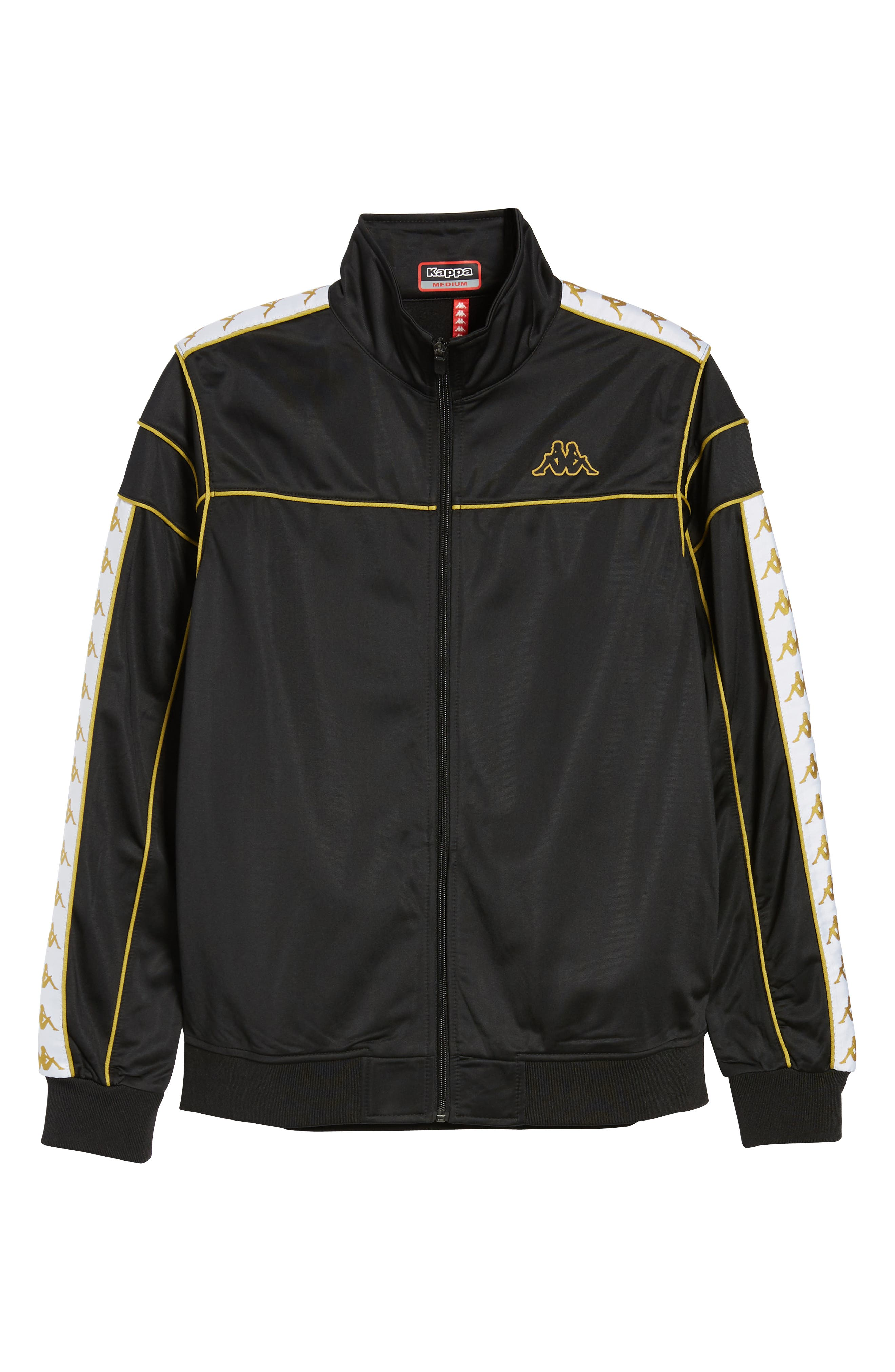 Racing Track Jacket,                             Alternate thumbnail 6, color,                             Black/ White Gold