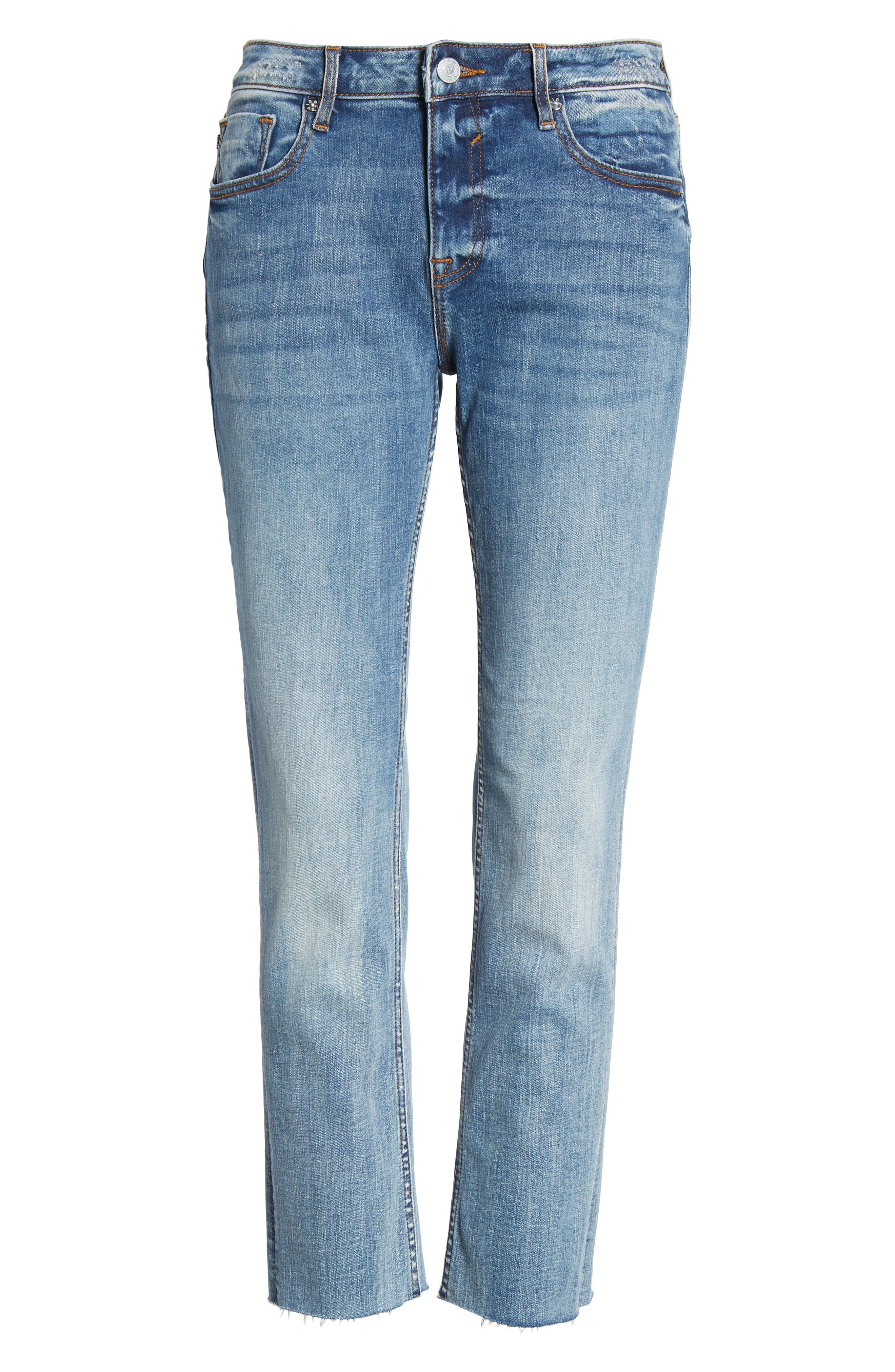 Jagger Crop Straight Leg Jeans,                             Alternate thumbnail 7, color,                             Med Wash