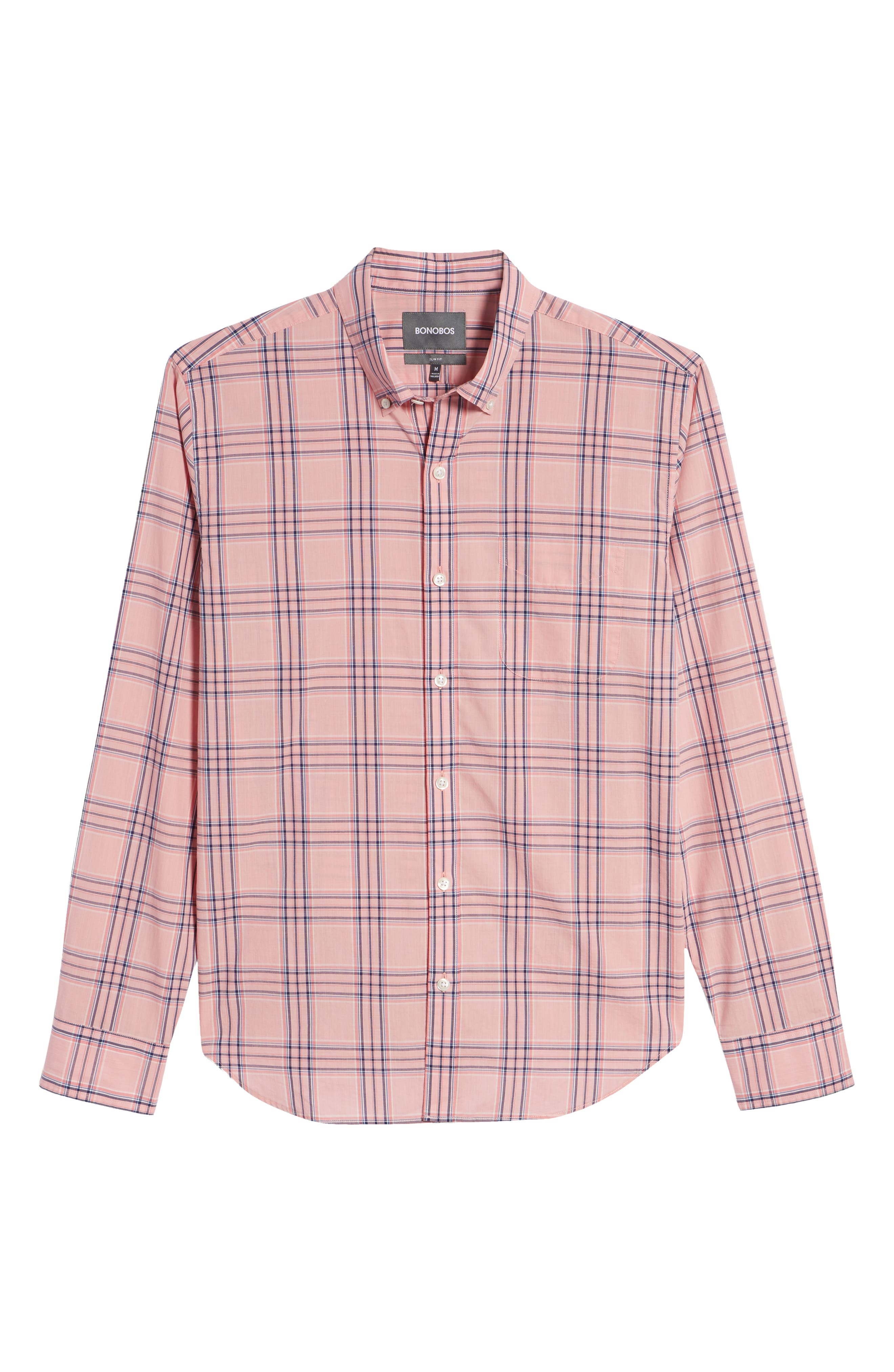 Summerweight Slim Fit Check Sport Shirt,                             Alternate thumbnail 6, color,                             Pearson Check - Peony Coral