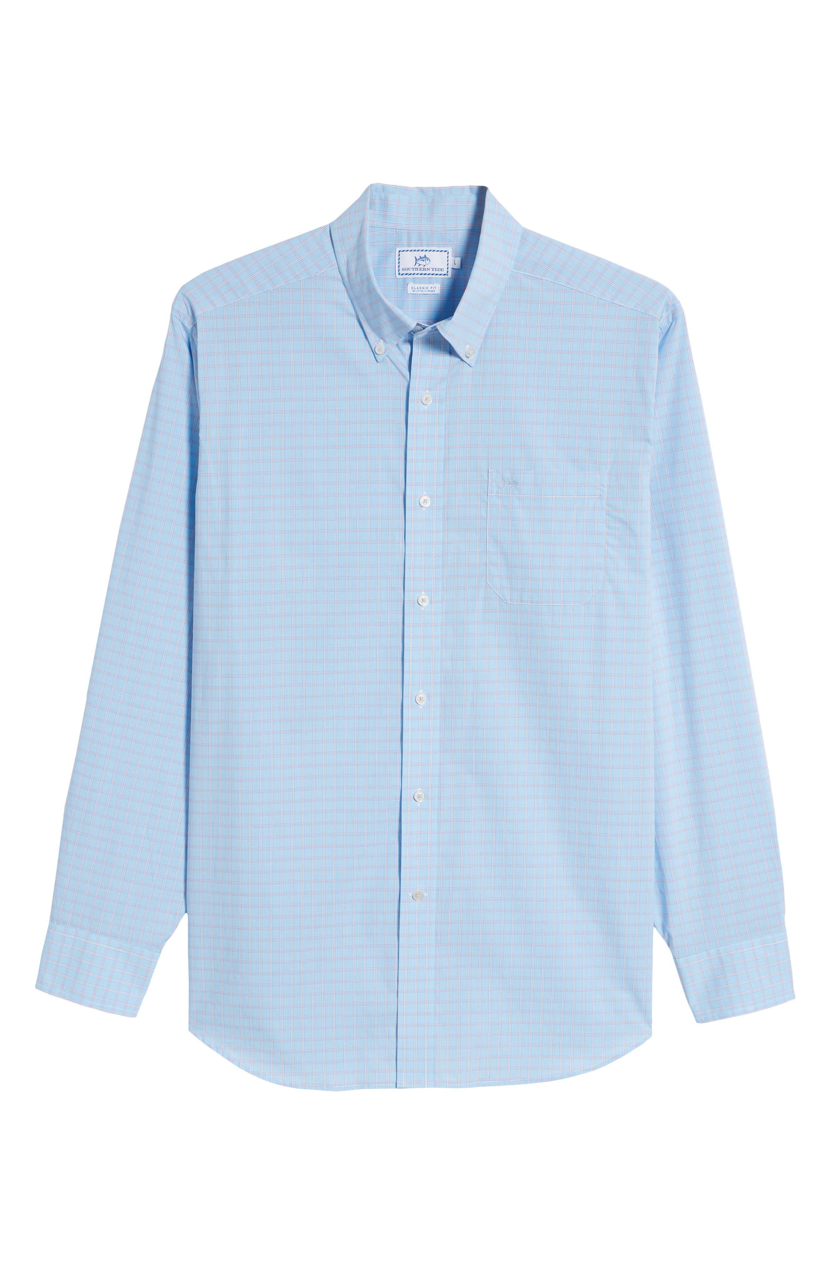 Buck Island Regular Fit Stretch Check Sport Shirt,                             Alternate thumbnail 6, color,                             Blue Stream