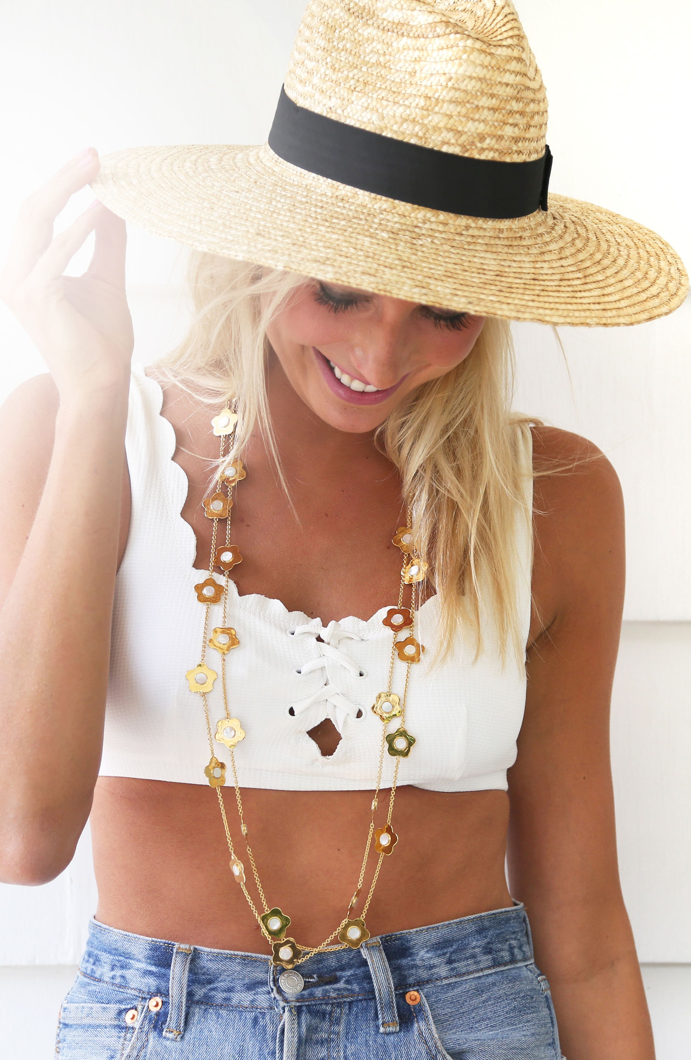 Lulu Mother-of-Pearl Station Necklace,                             Alternate thumbnail 2, color,