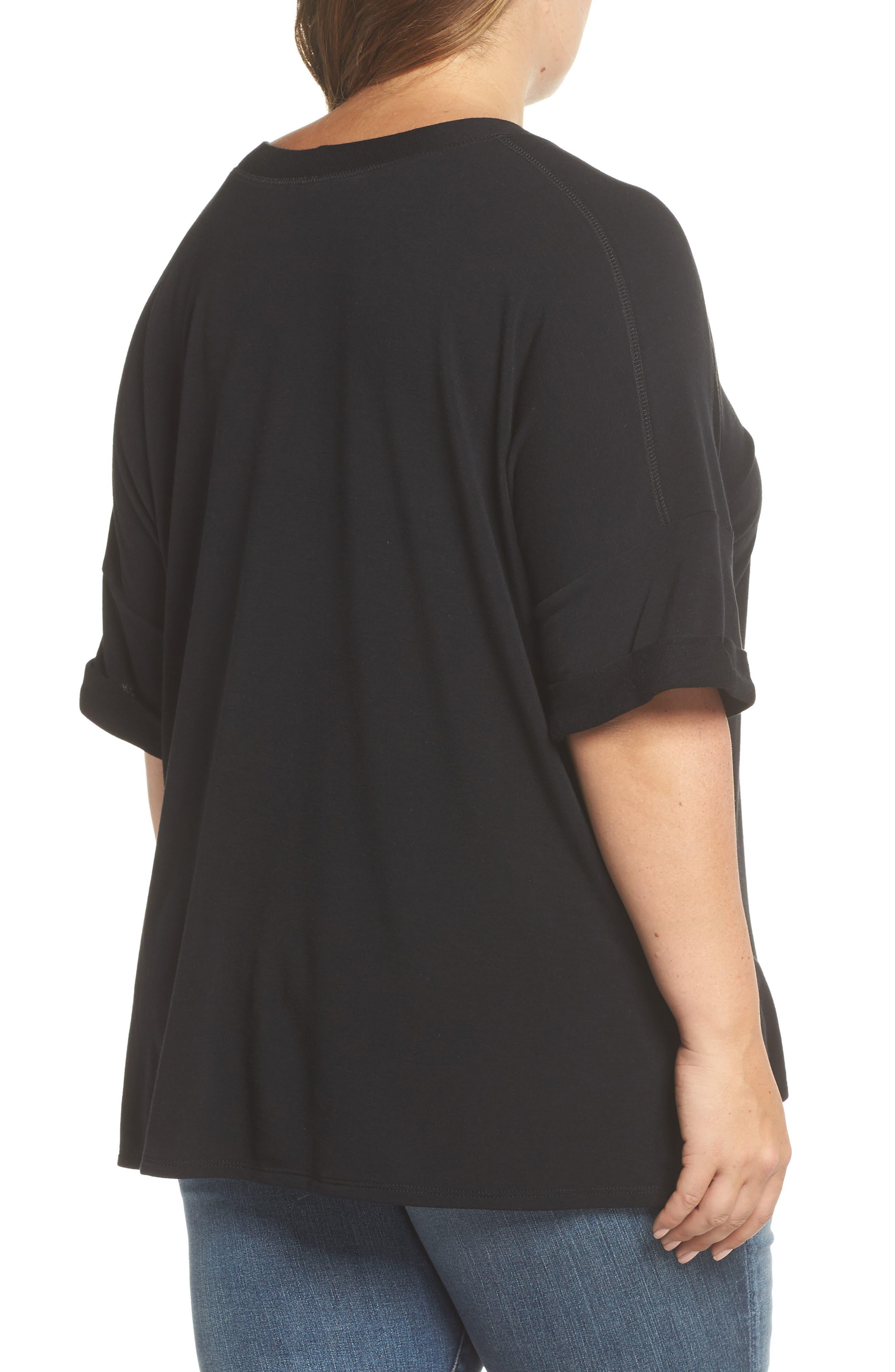 Alternate Image 2  - Caslon® Pocket Fleece Tee (Plus Size)
