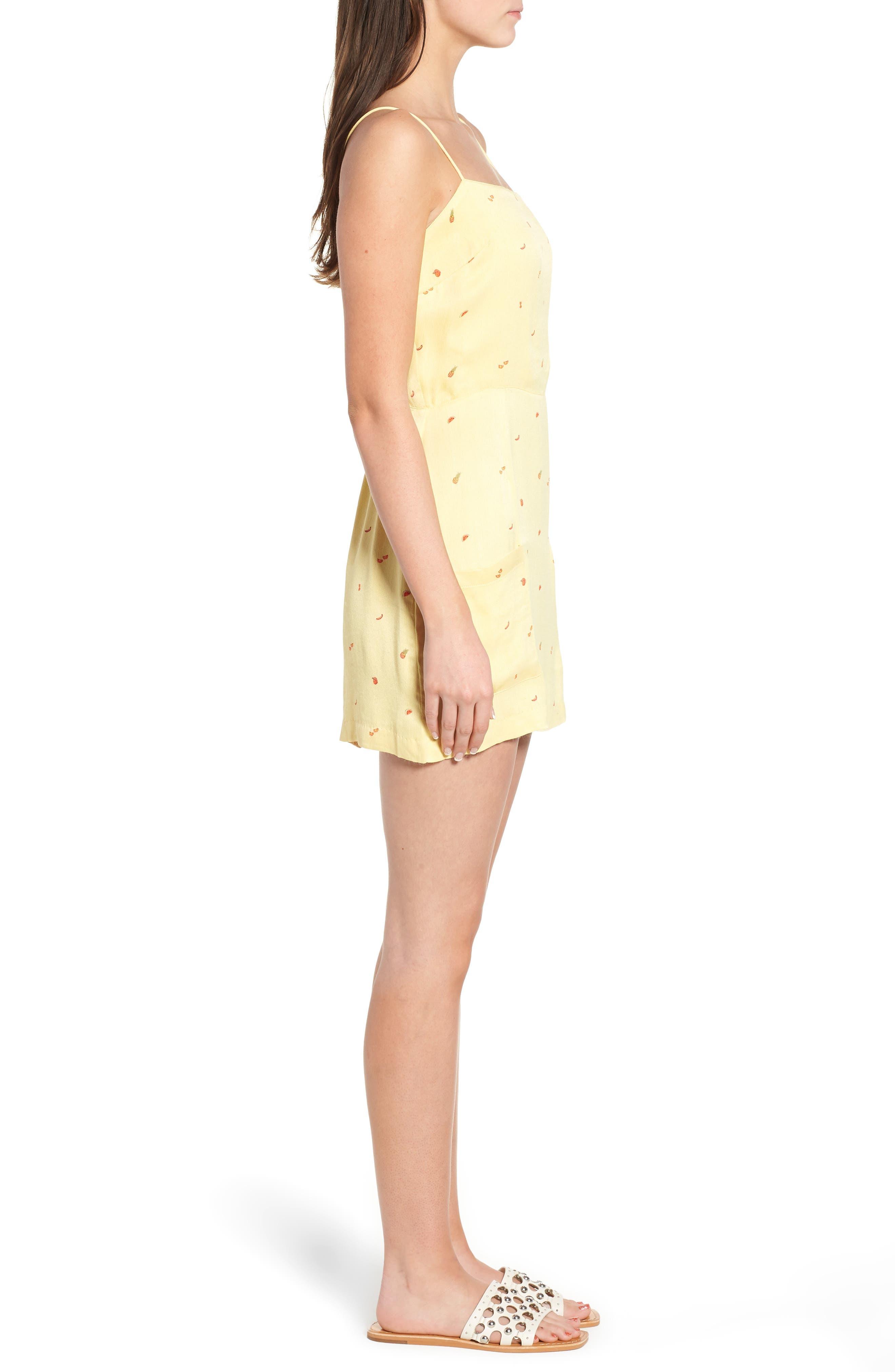 Shilo Fruit Print Minidress,                             Alternate thumbnail 3, color,                             Yellow Multi