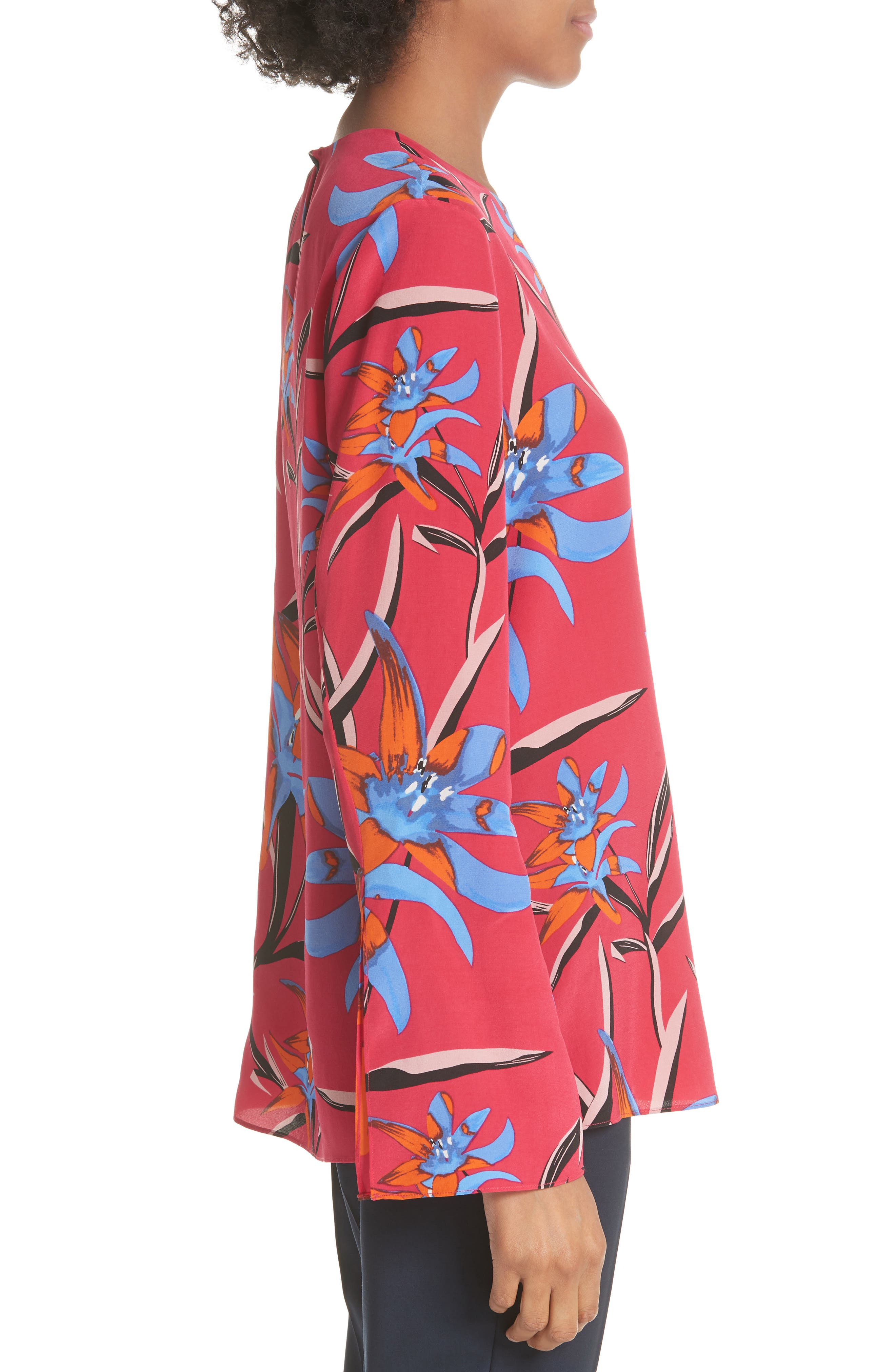 Diane von Furstenberg Side Slit Silk Blouse,                             Alternate thumbnail 3, color,                             Harlow Magenta/Alexander Navy