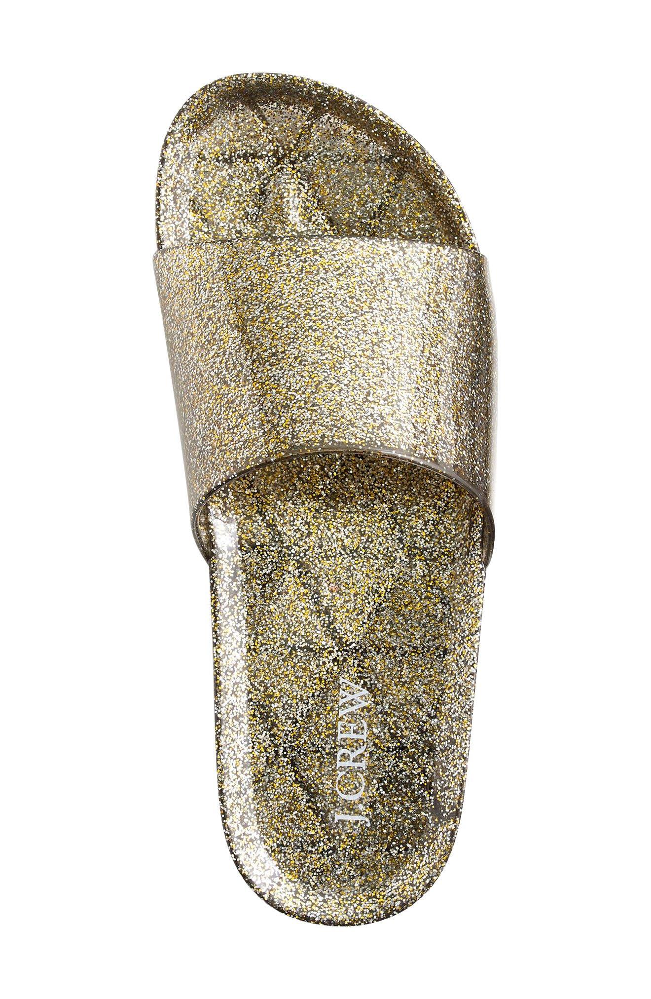 Glitter Slide Sandal,                             Alternate thumbnail 3, color,                             Grey/ Gold