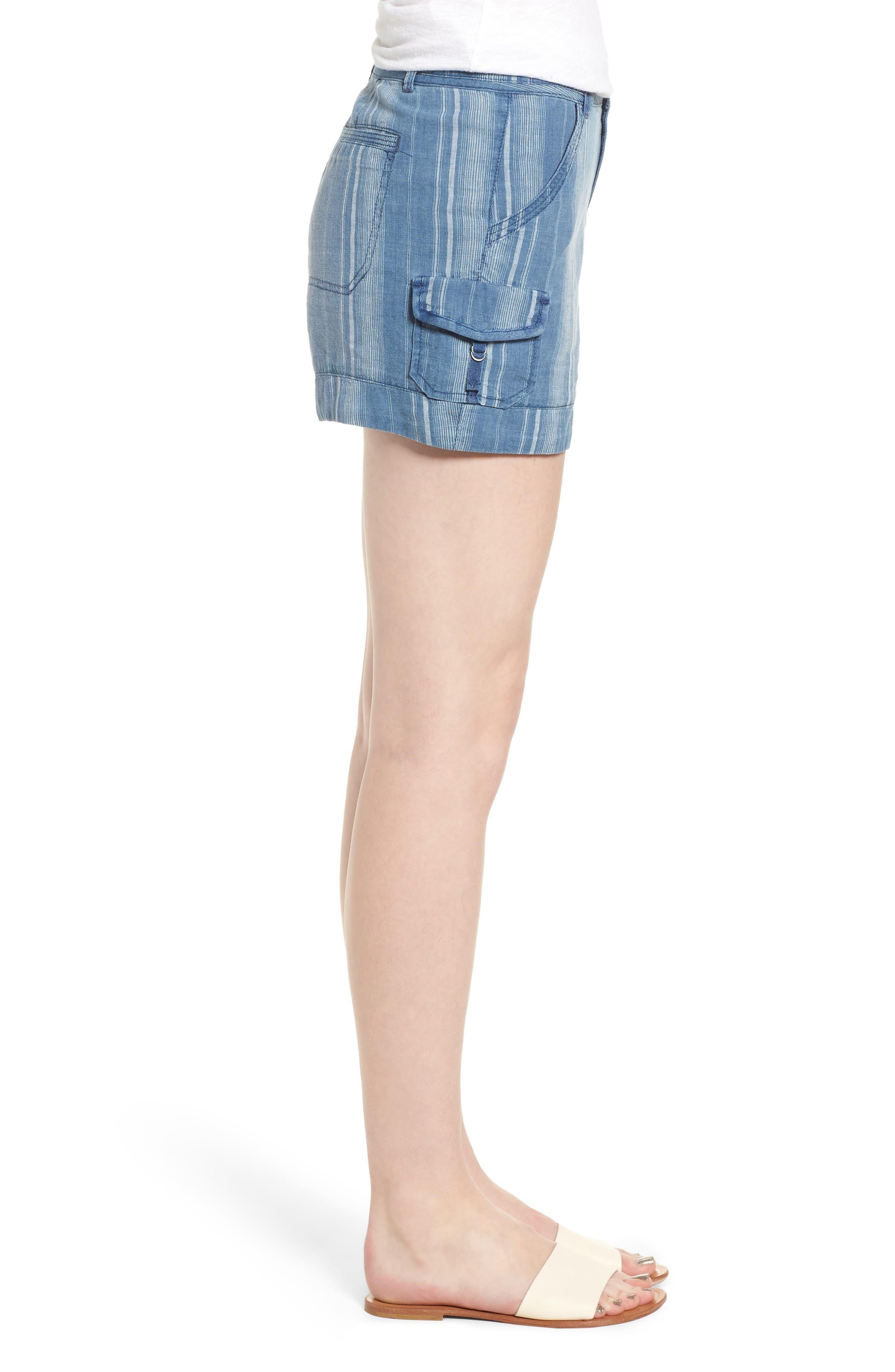 High Rise Striped Shorts,                             Alternate thumbnail 3, color,                             Blue Stripe