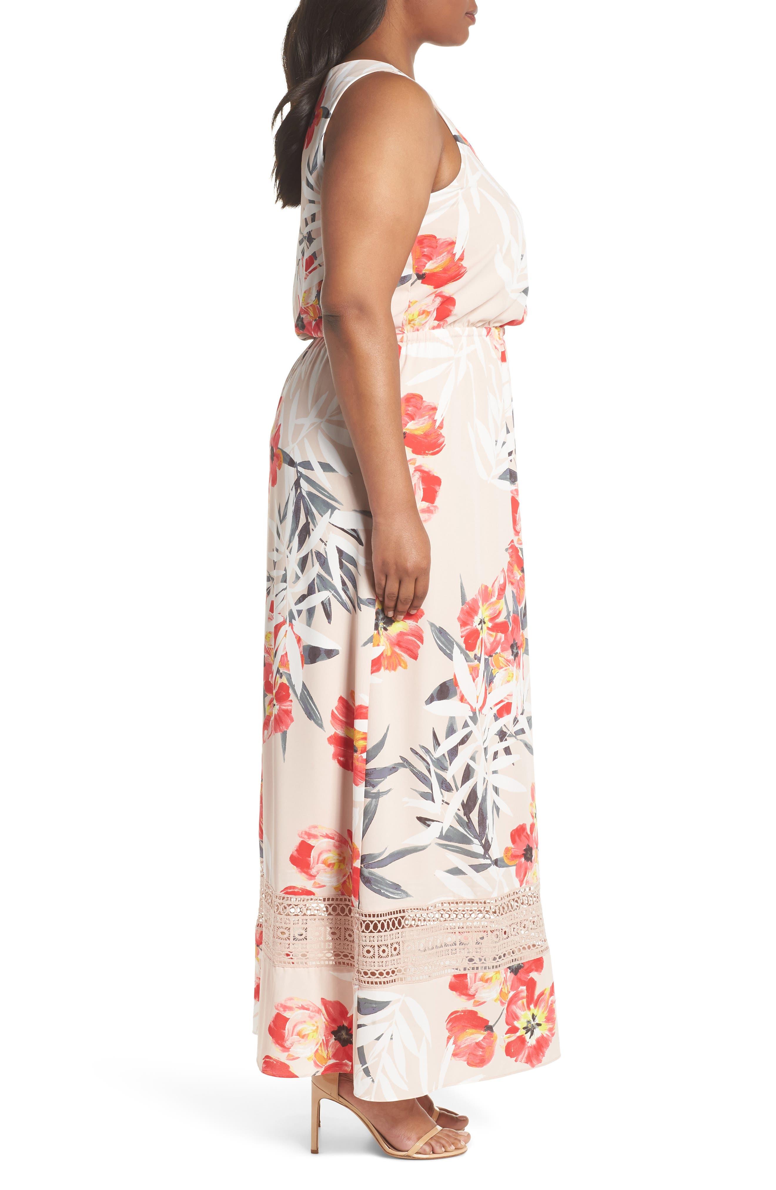 Tropical Breeze Floral Maxi Dress,                             Alternate thumbnail 3, color,                             Geranium Multi