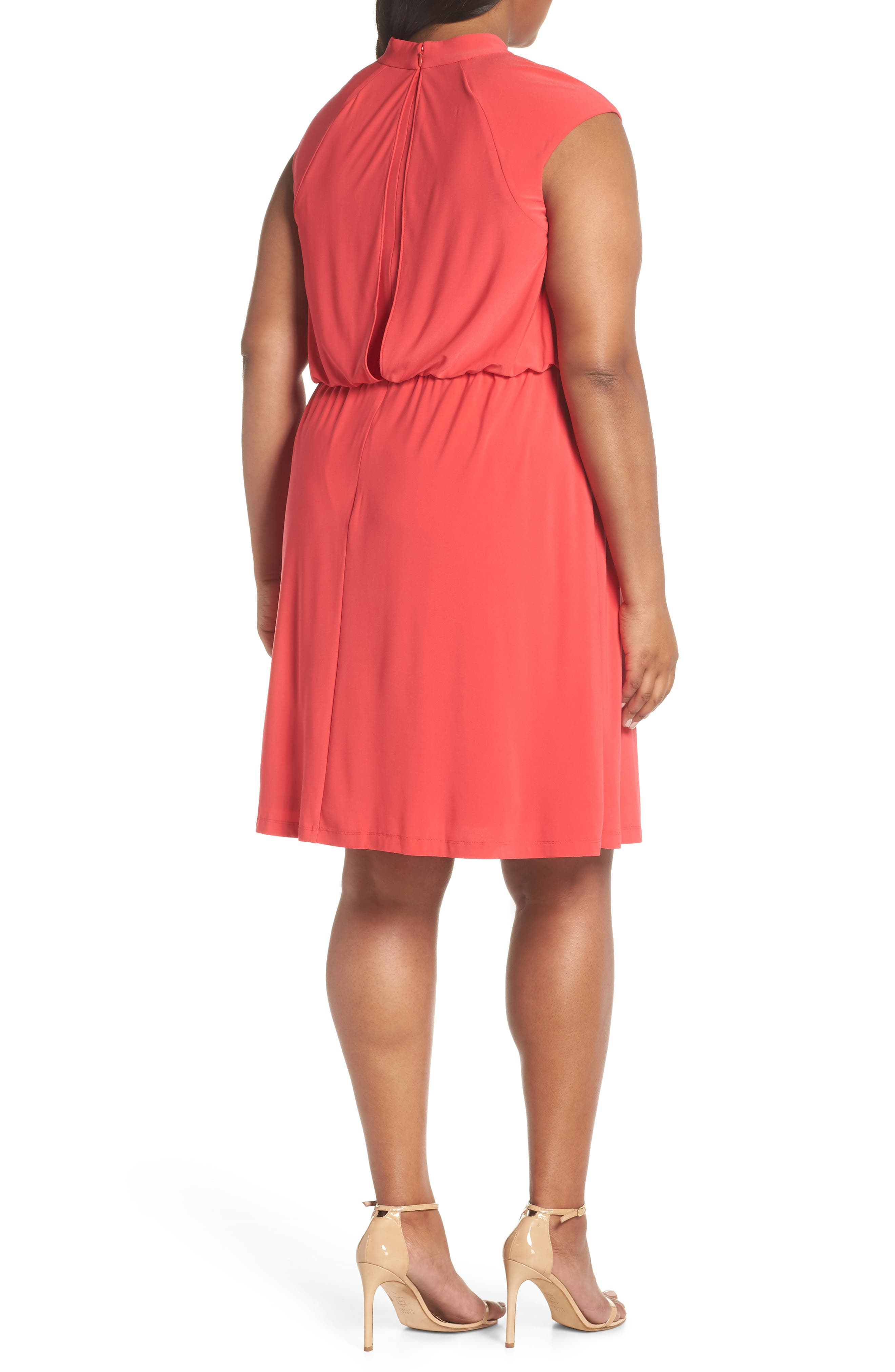 Twist Neck Jersey Blouson Dress,                             Alternate thumbnail 2, color,                             Geranium