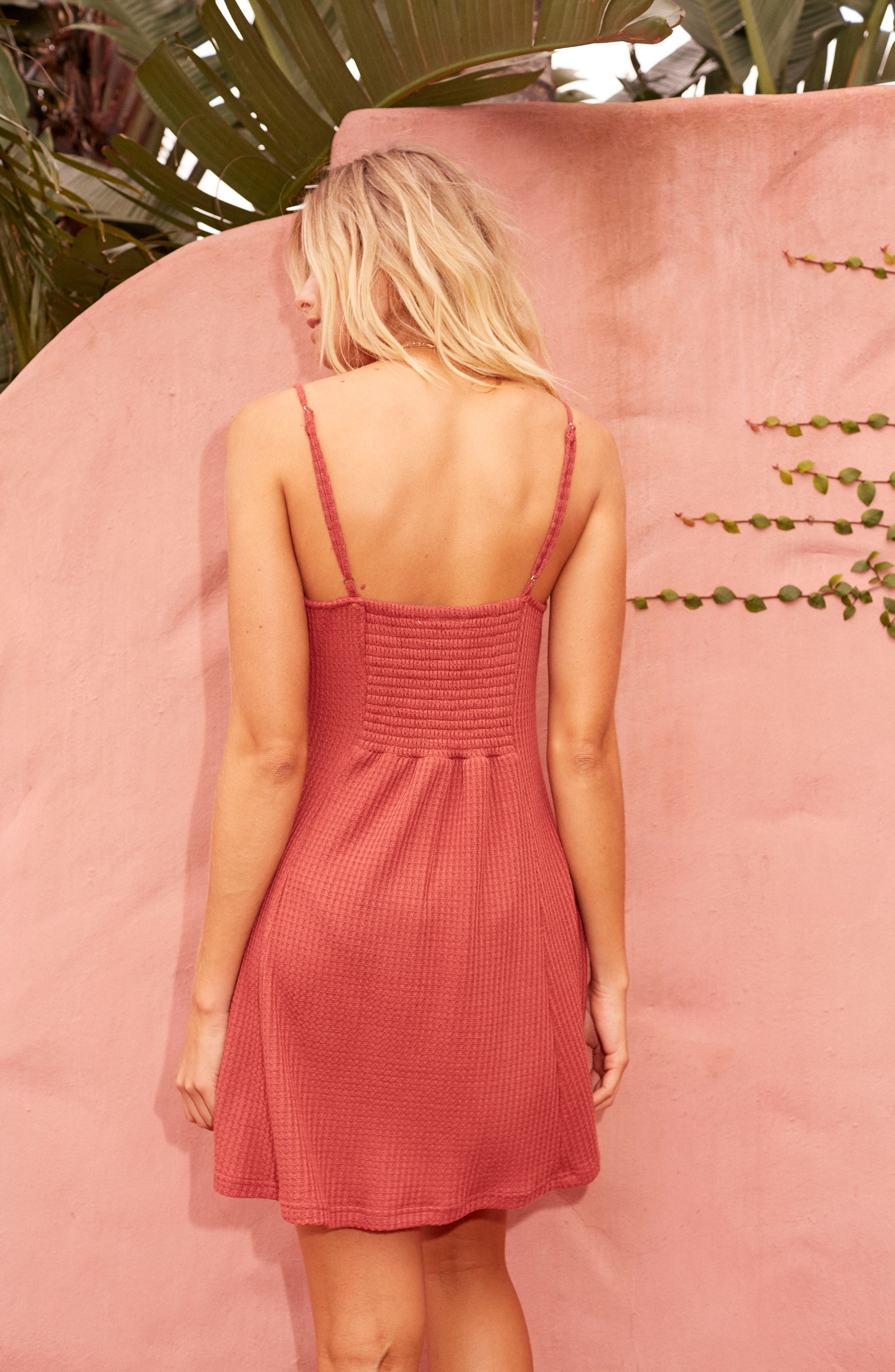 Lost Lovers Thermal Minidress,                             Alternate thumbnail 8, color,                             Baked Pink