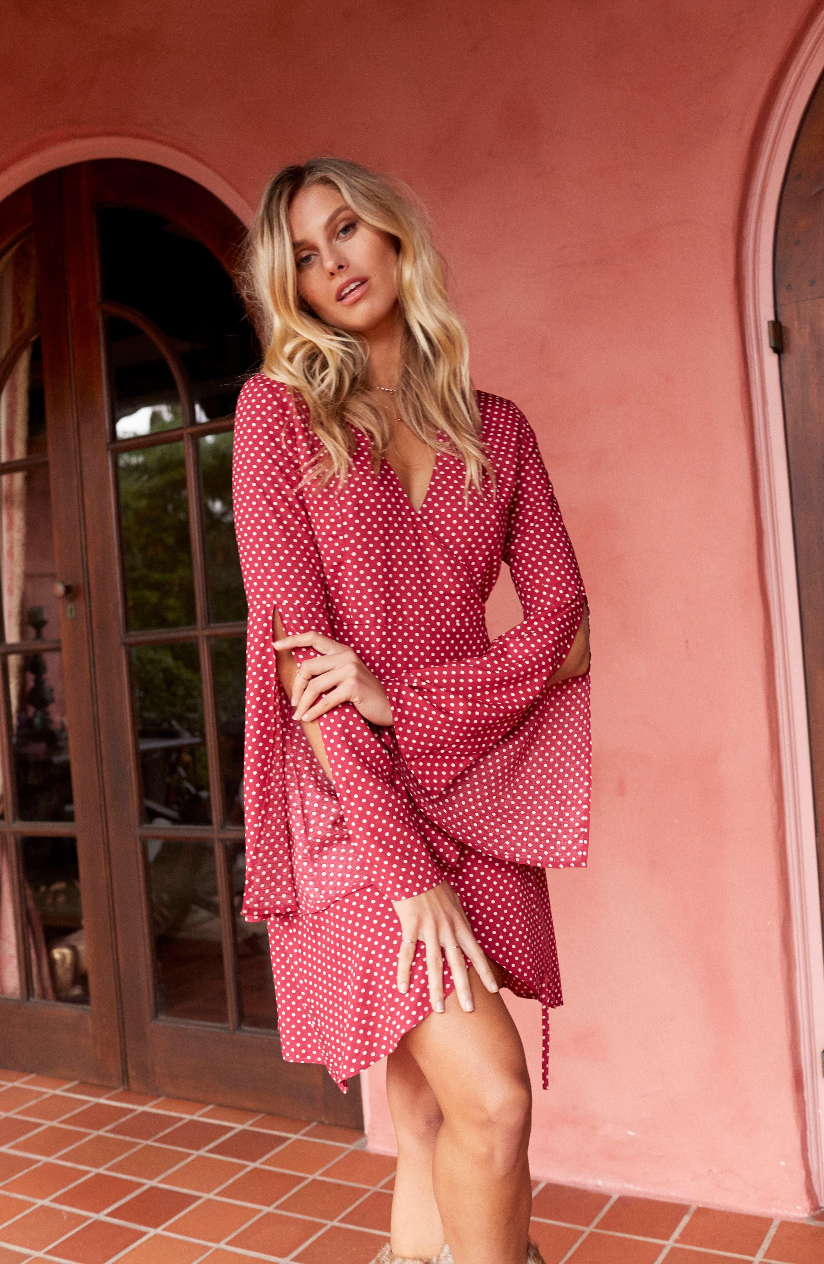 Fearless Polka Dot Wrap Dress,                             Alternate thumbnail 2, color,                             Multi Red