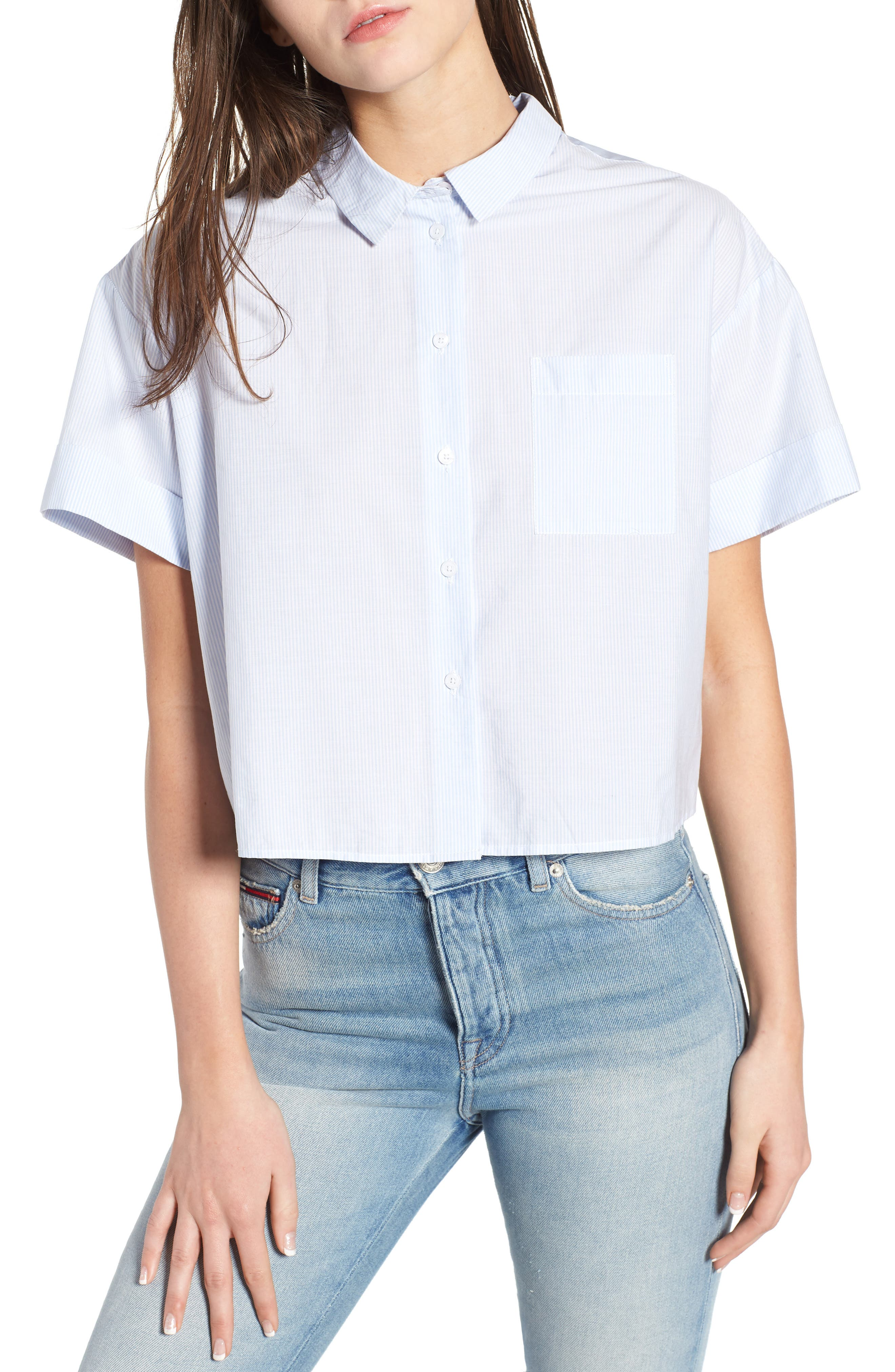 Tie Back Shirt,                         Main,                         color, Serenity / Bright White