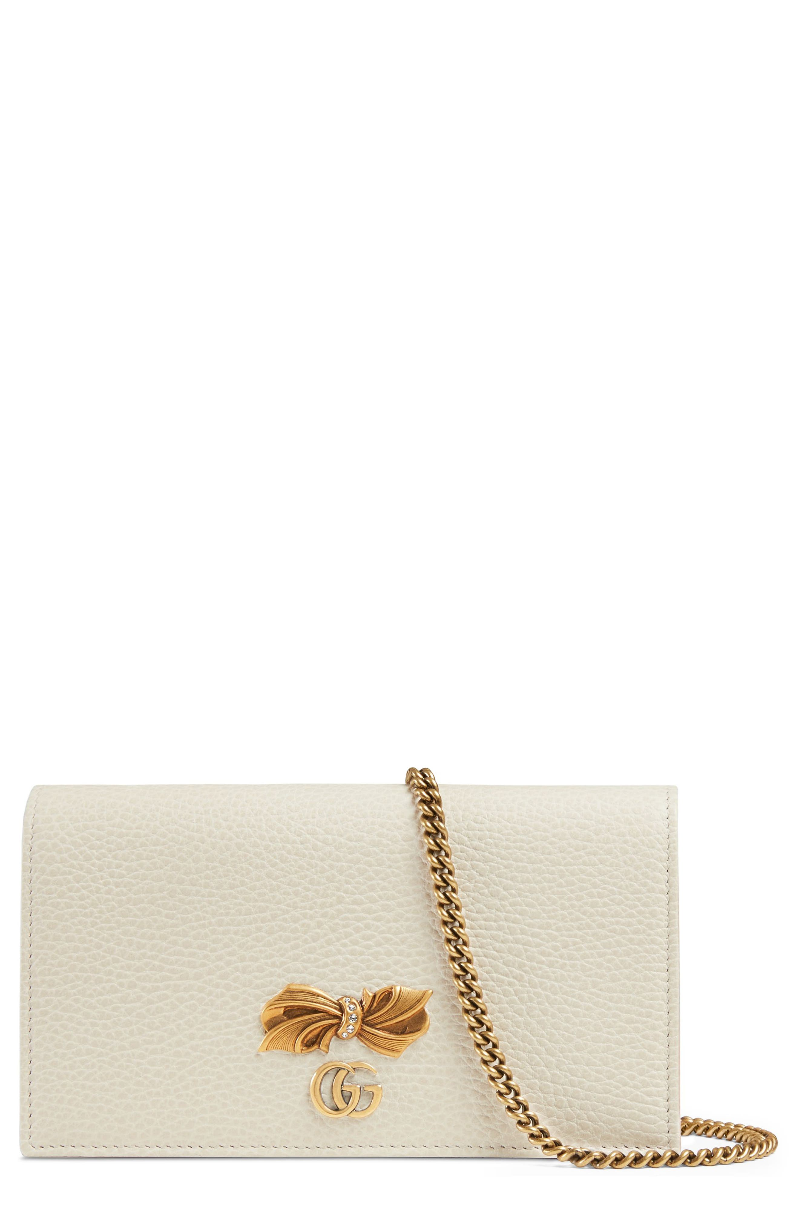 Fiocchino Leather Wallet on a Chain,                         Main,                         color, Mystic White/ Pink/ Crystal
