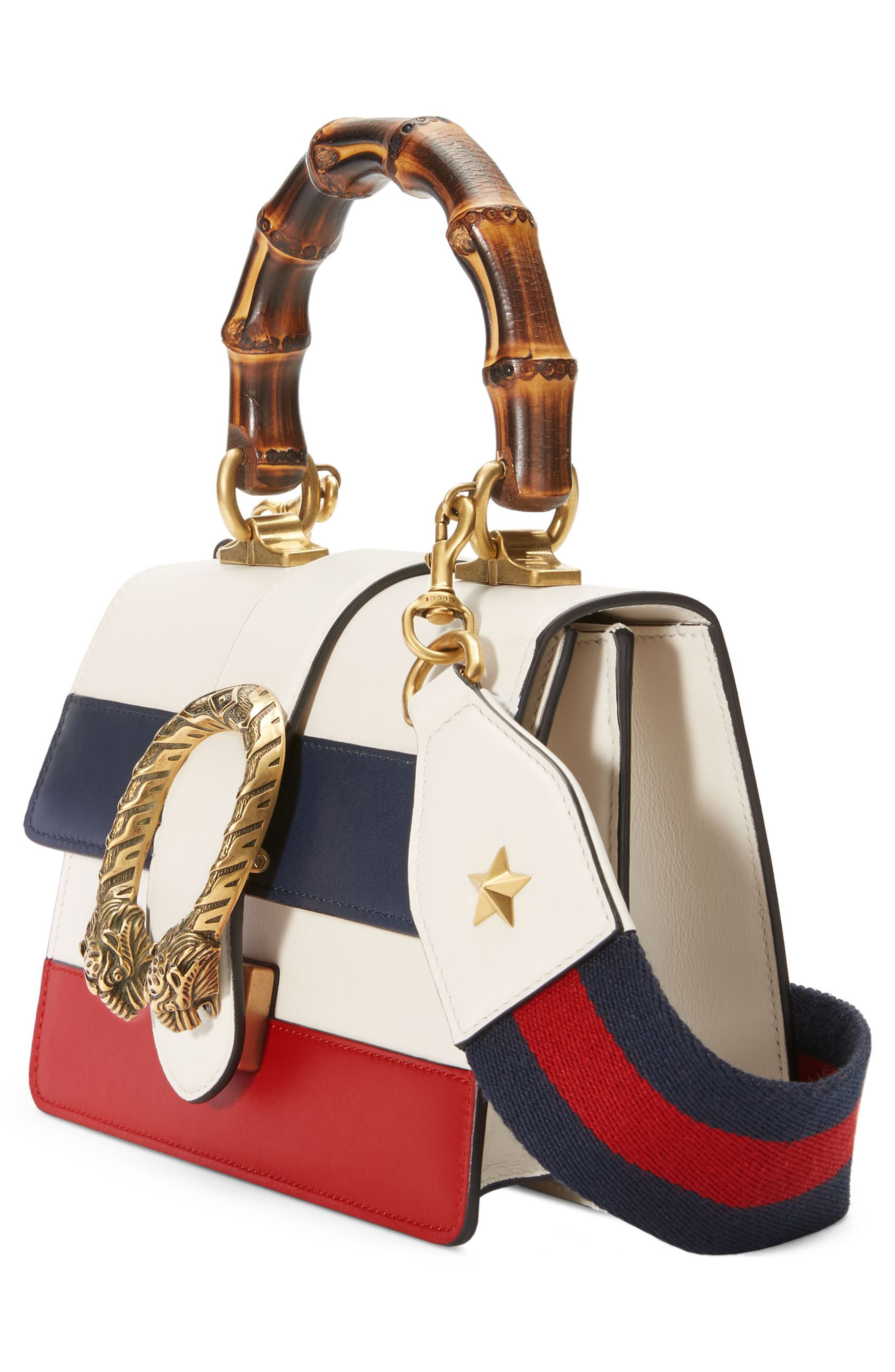 Mini Dionysus Leather Top Handle Satchel,                             Alternate thumbnail 4, color,                             White/ Blue/ Hibiscus Red