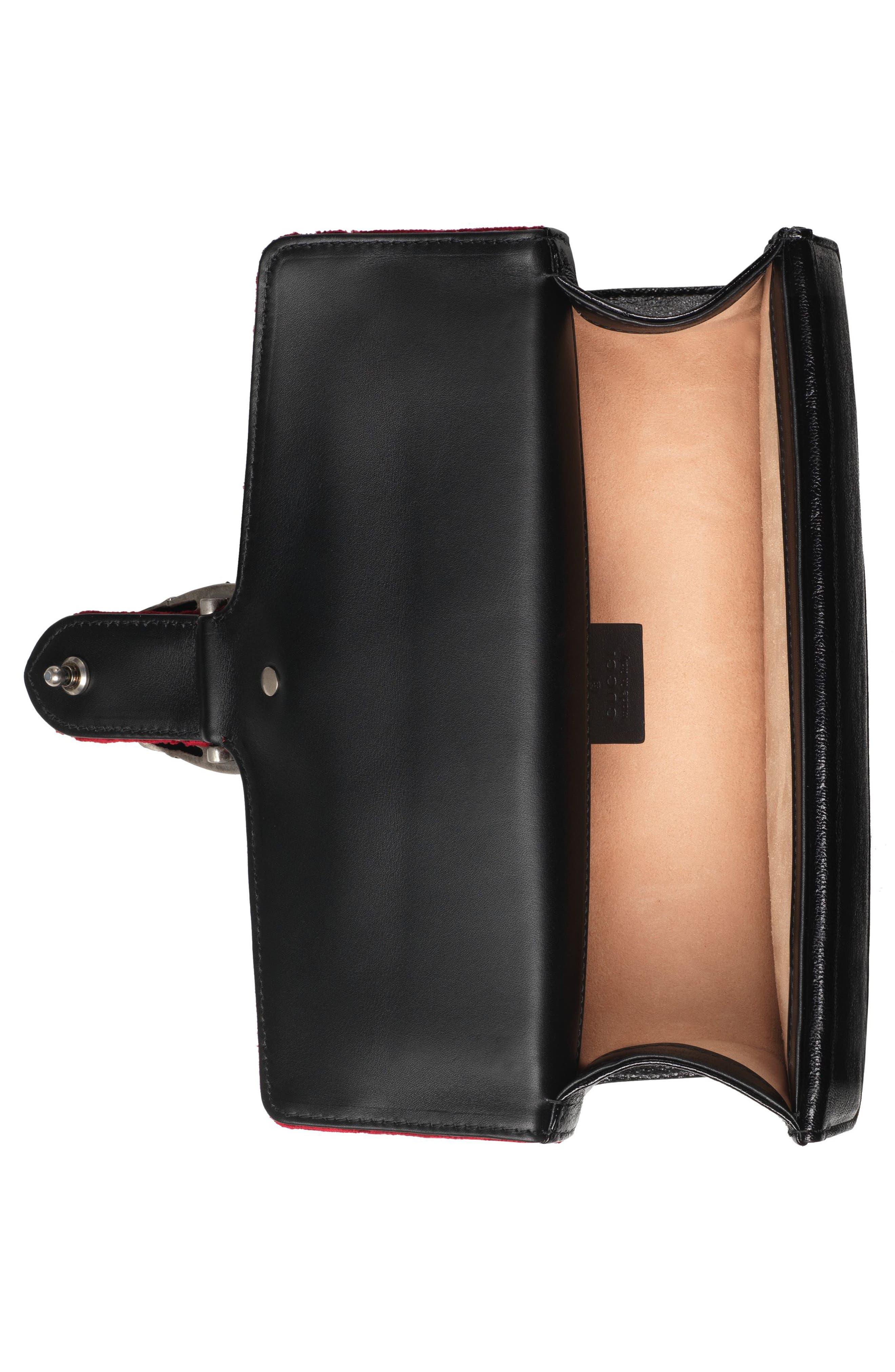 Small Dionysus GG Velvet Shoulder Bag,                             Alternate thumbnail 3, color,                             Red Cipria/ Black Diamond