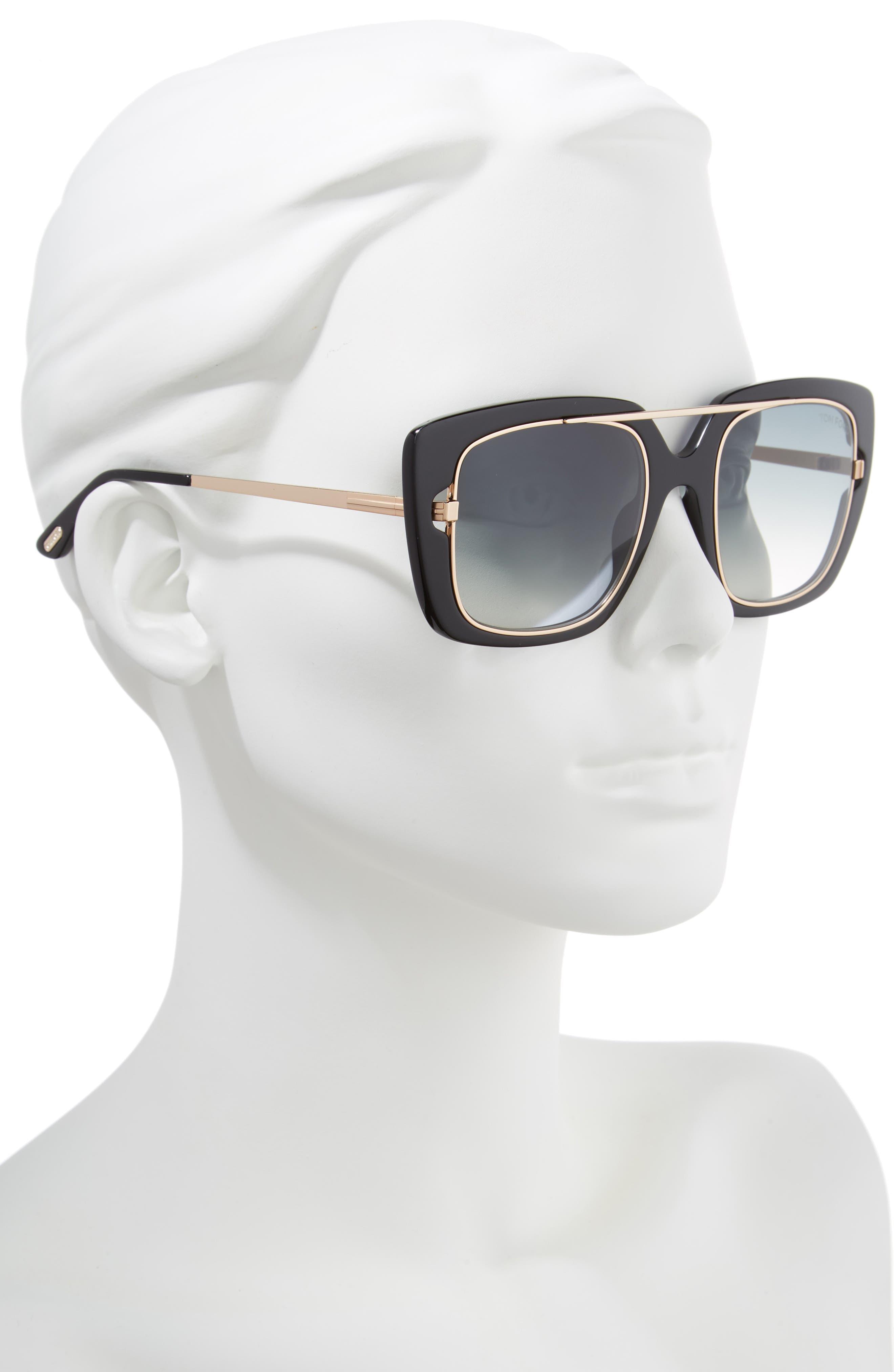 Marissa 52mm Sunglasses,                             Alternate thumbnail 2, color,                             Shiny Black/ Gradient Smoke