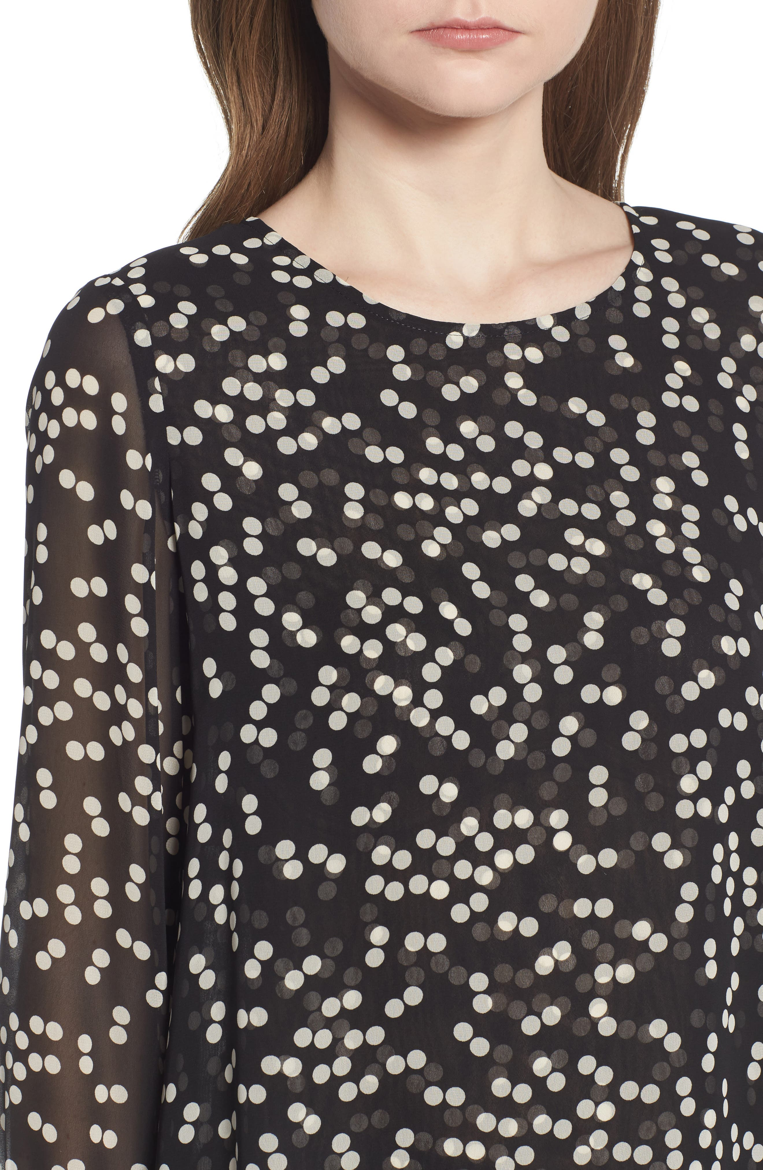 Double Layer Dot Print Blouse,                             Alternate thumbnail 4, color,                             Black/ Parchment