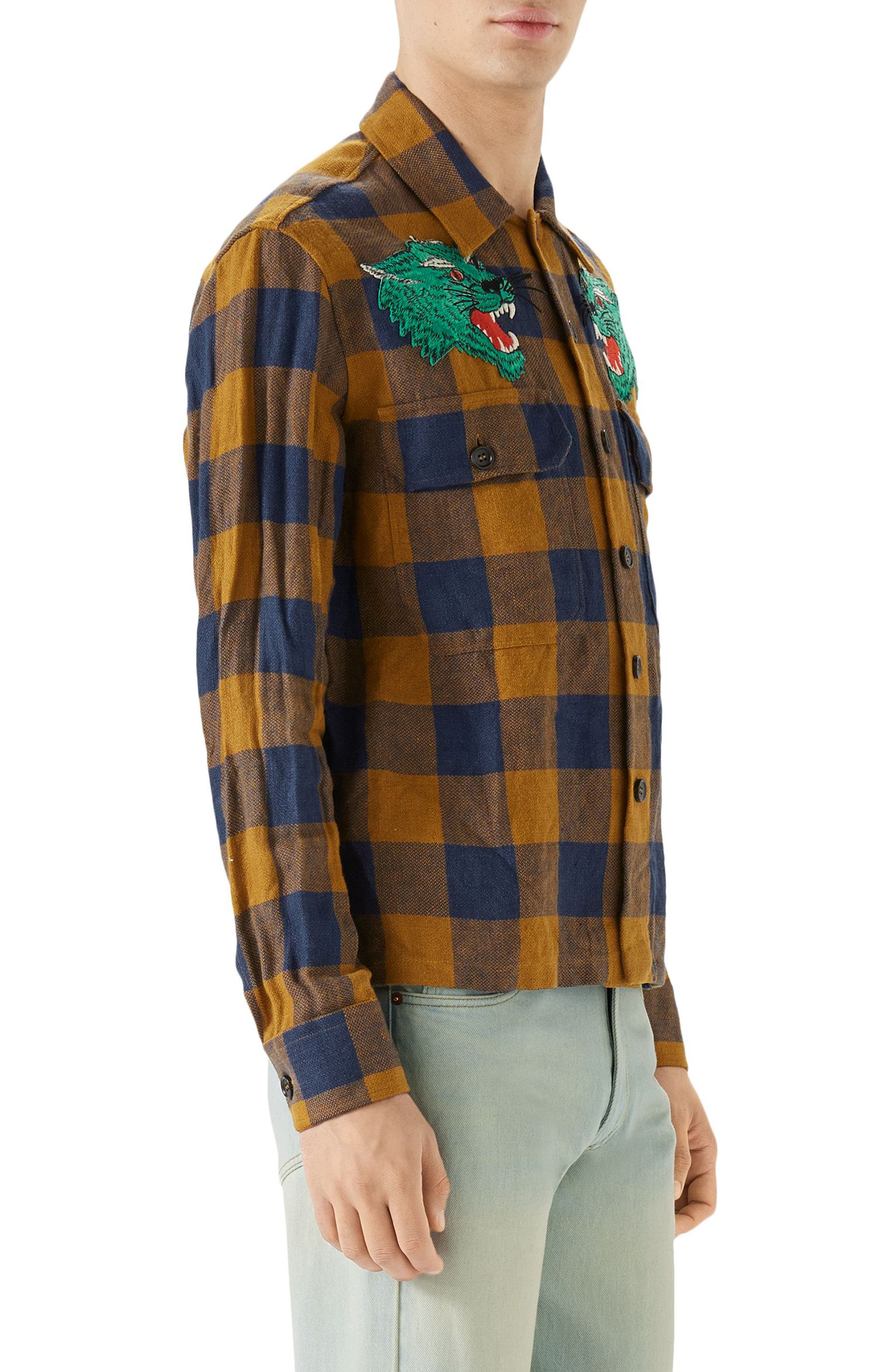 Macro Gingham Panther Appliqué Linen Shirt Jacket,                             Alternate thumbnail 3, color,                             Orange