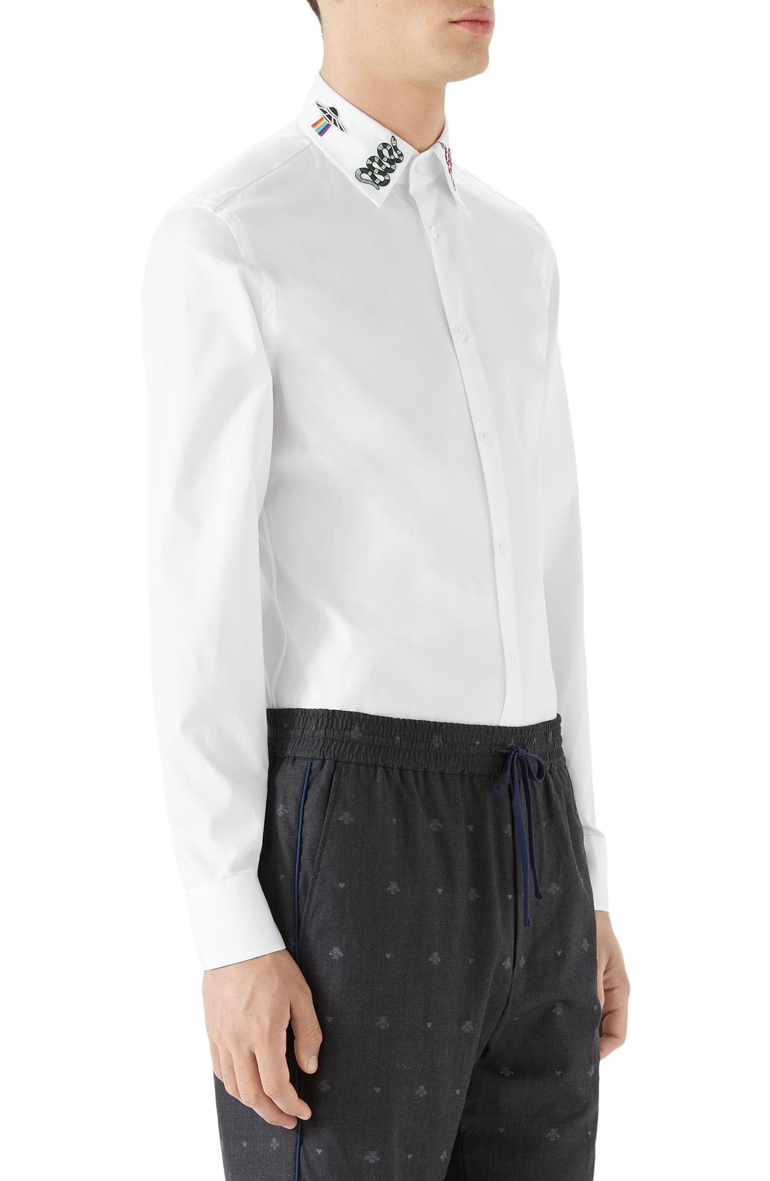 Embroidered Collar Emblem Sport Shirt,                             Alternate thumbnail 3, color,                             White