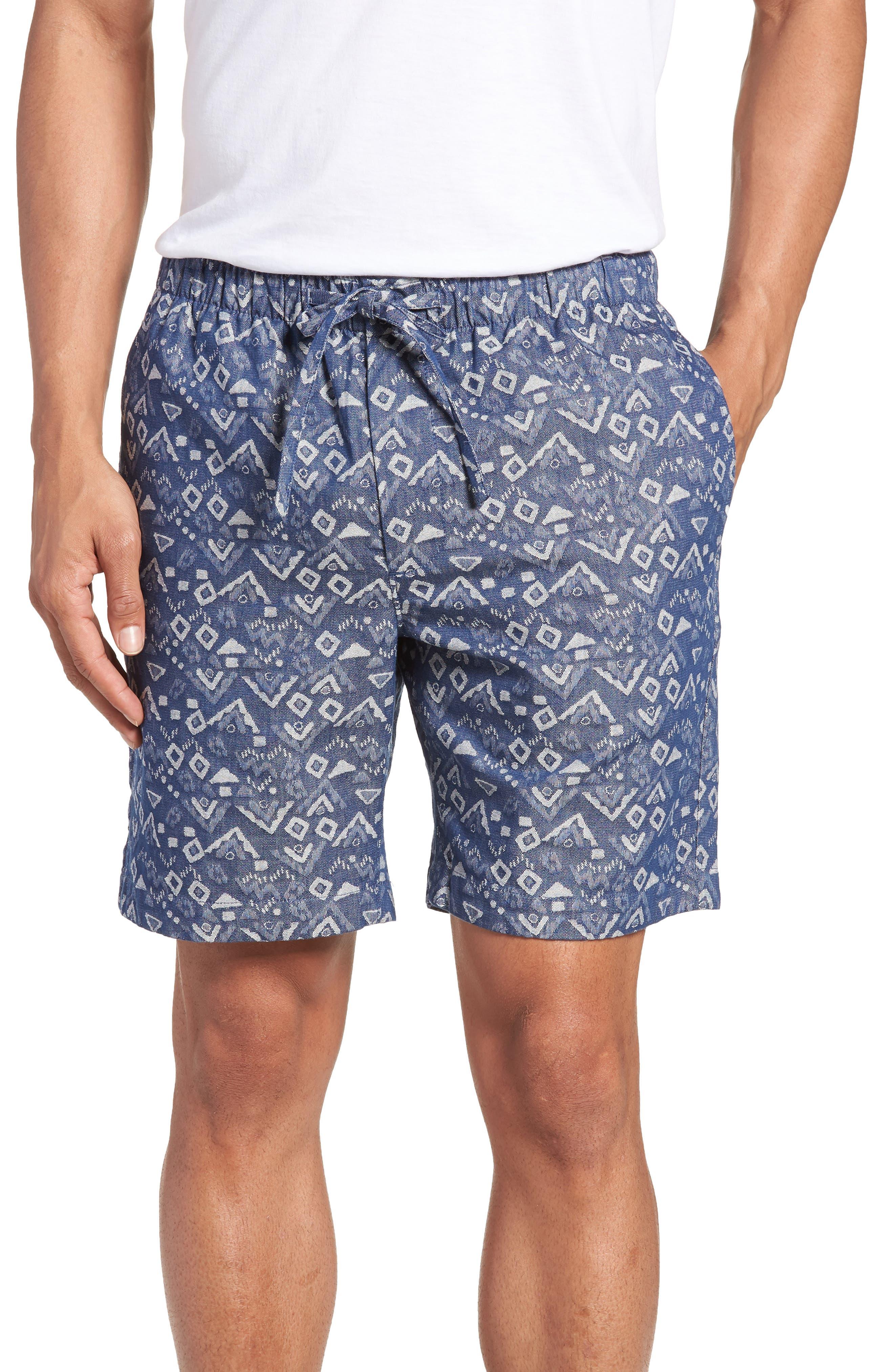 Slim Fit Print Beach Shorts,                         Main,                         color, Triangles Jacquard