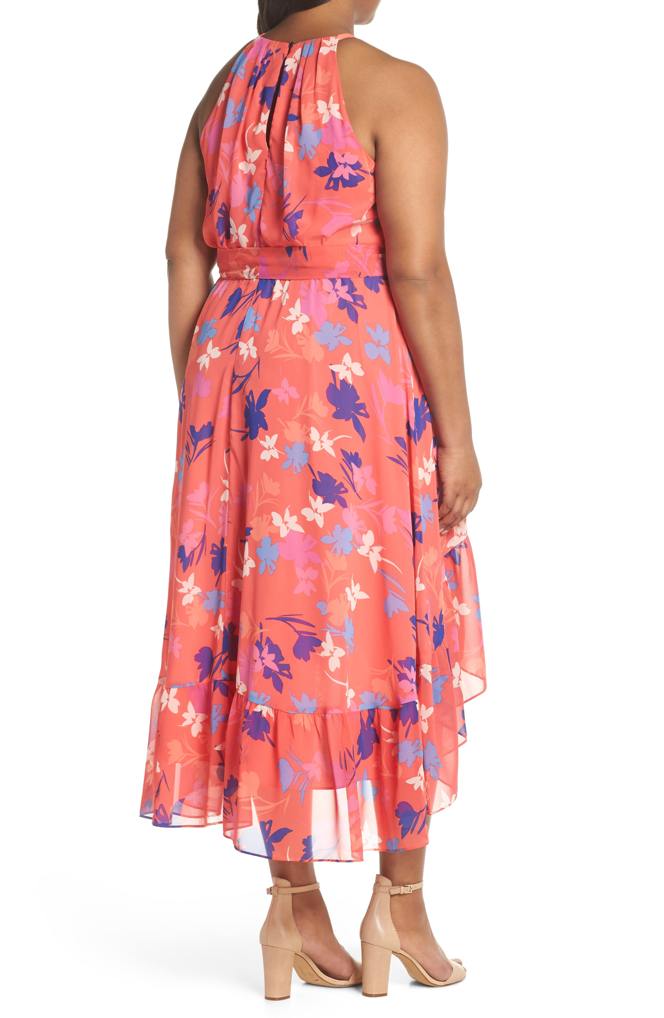 Floral High/Low Halter Dress,                             Alternate thumbnail 2, color,                             Coral/ Fiery Fuchsia/ Navy