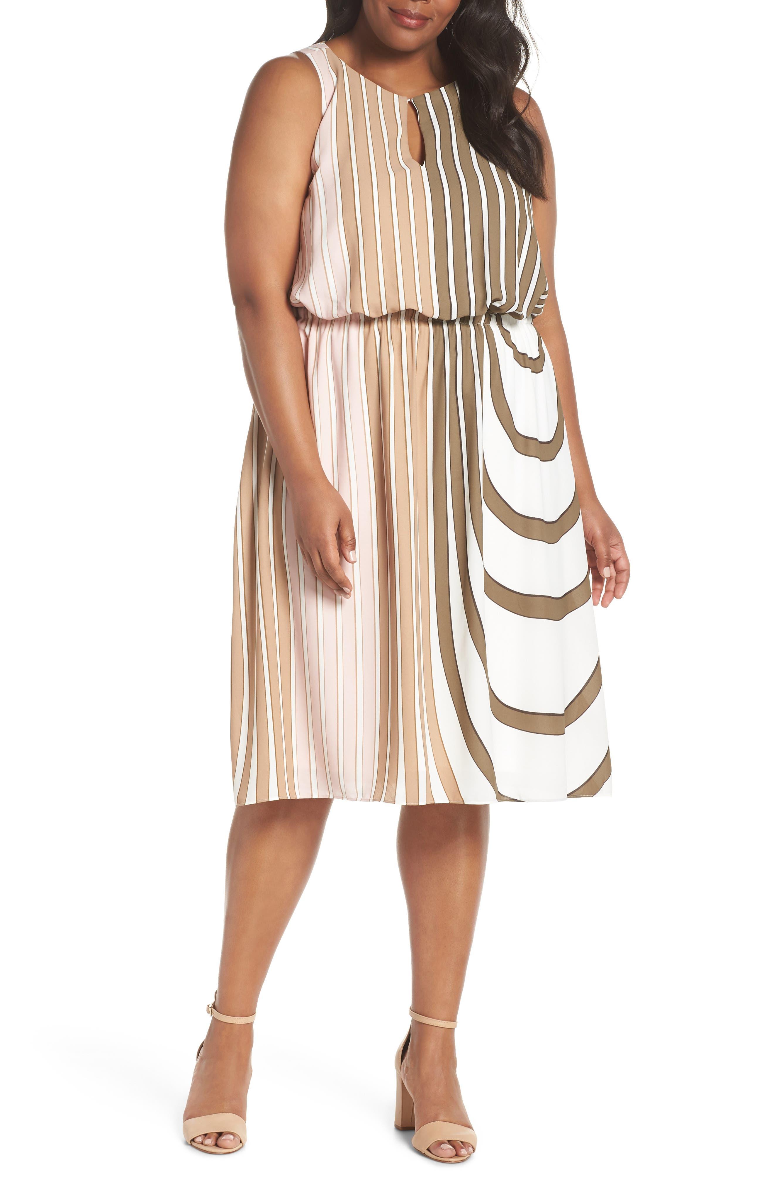 Beta Stripe Georgette Fit & Flare Dress,                         Main,                         color, Olive Multi