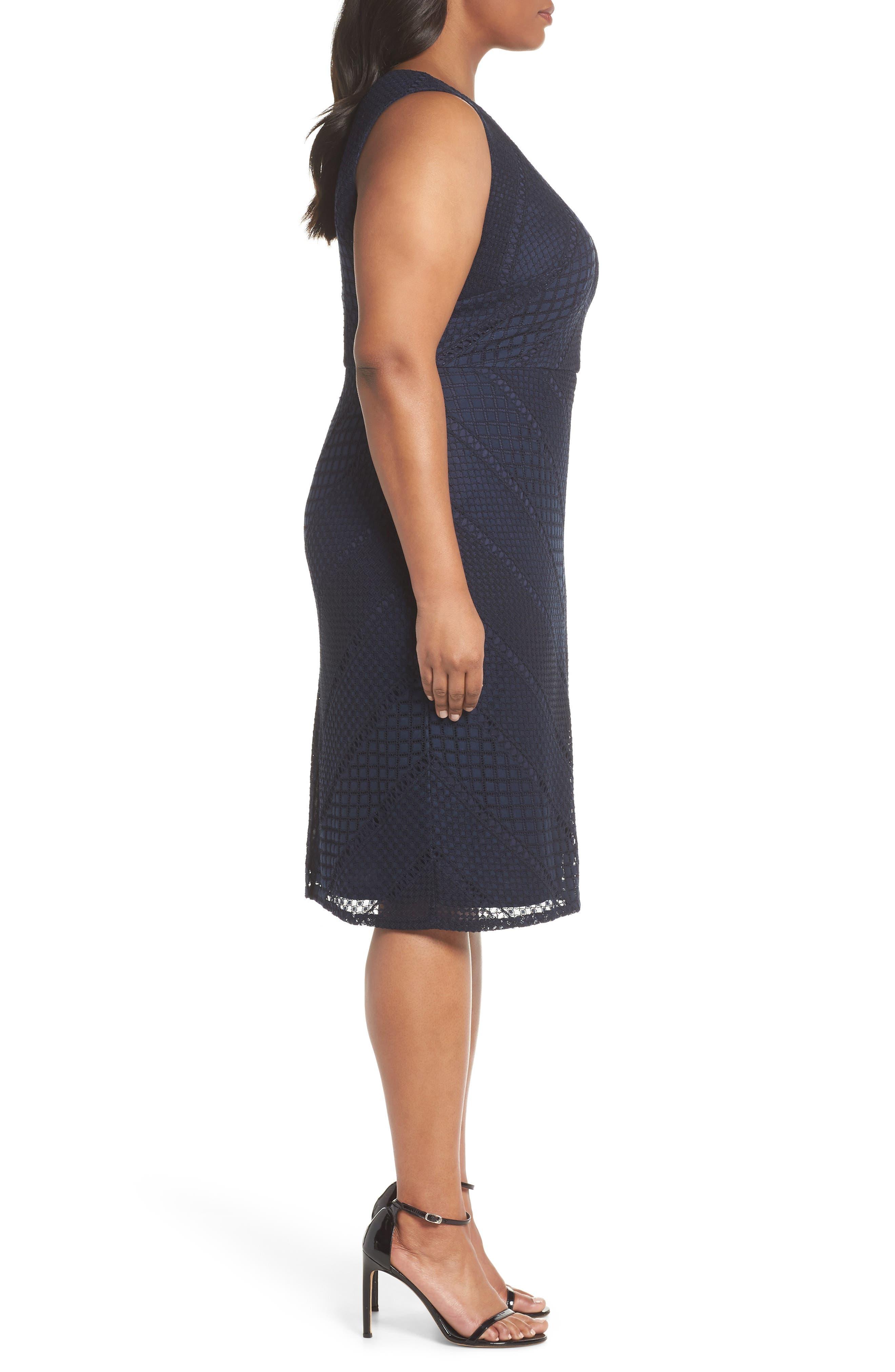 Vintage Stripe Lace Sheath Dress,                             Alternate thumbnail 3, color,                             Navy/ Black
