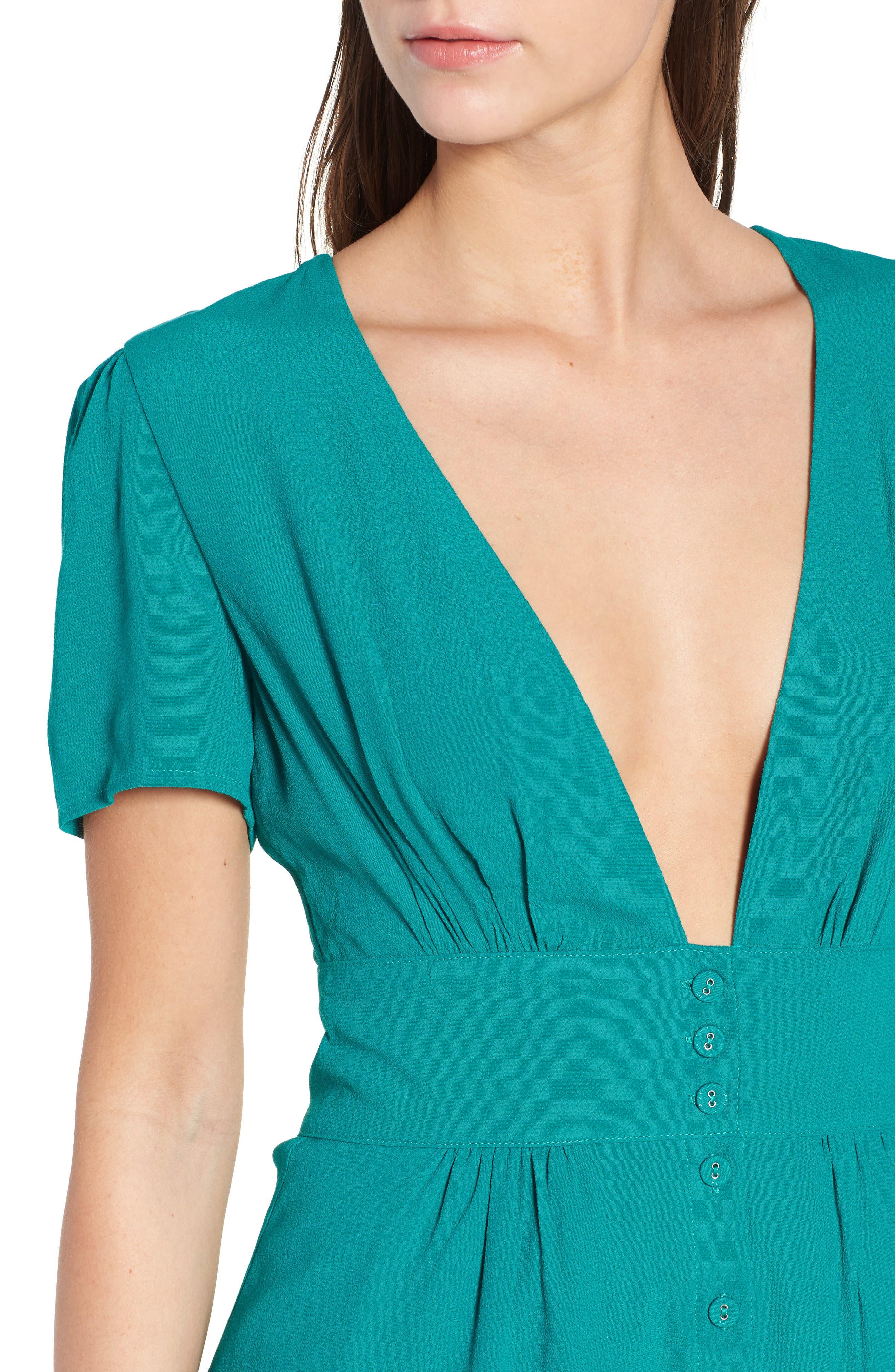 Verdera Plunging Minidress,                             Alternate thumbnail 6, color,                             Green