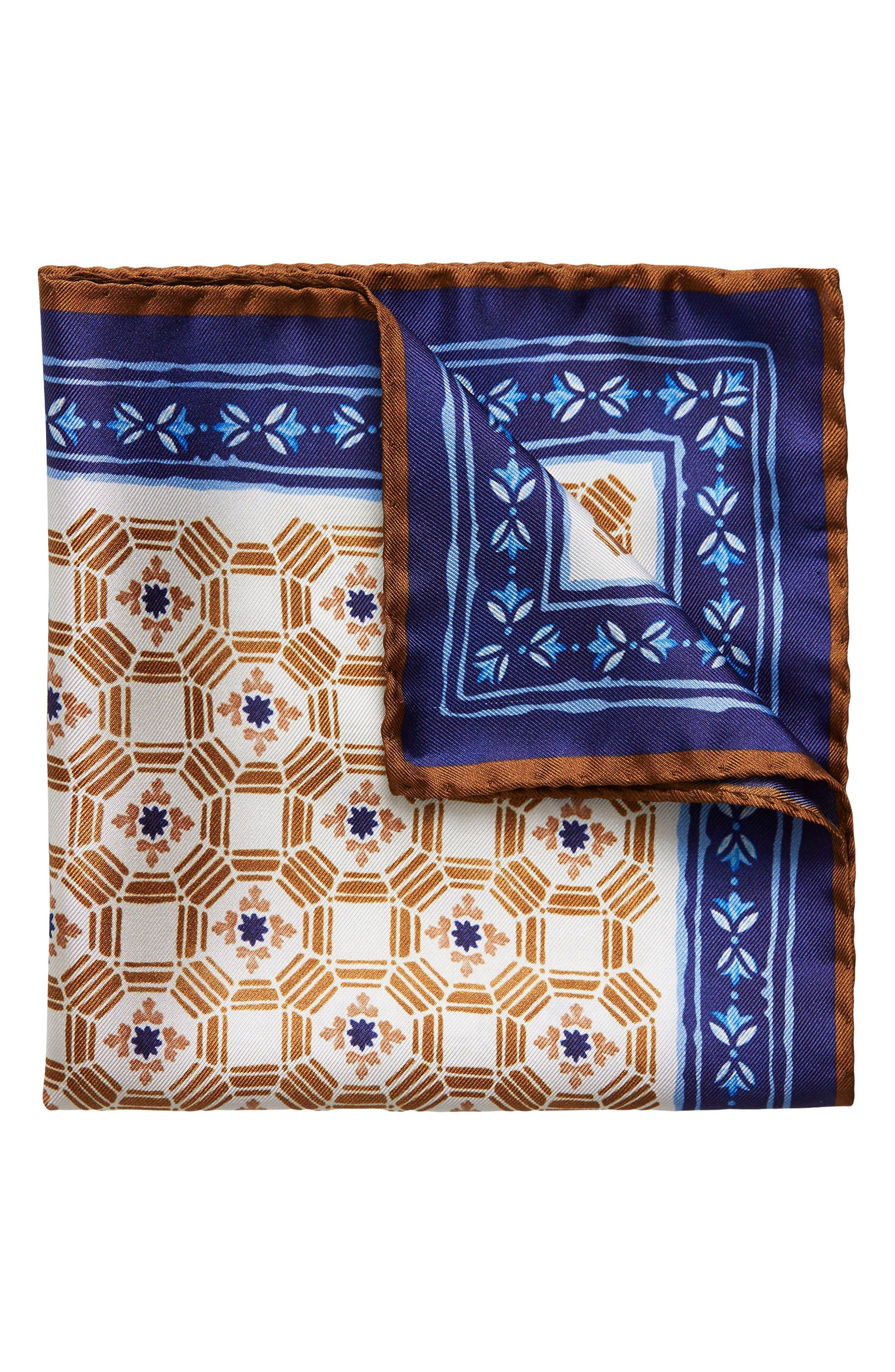 Medallion Silk Pocket Square,                             Main thumbnail 1, color,                             Navy \ Brown