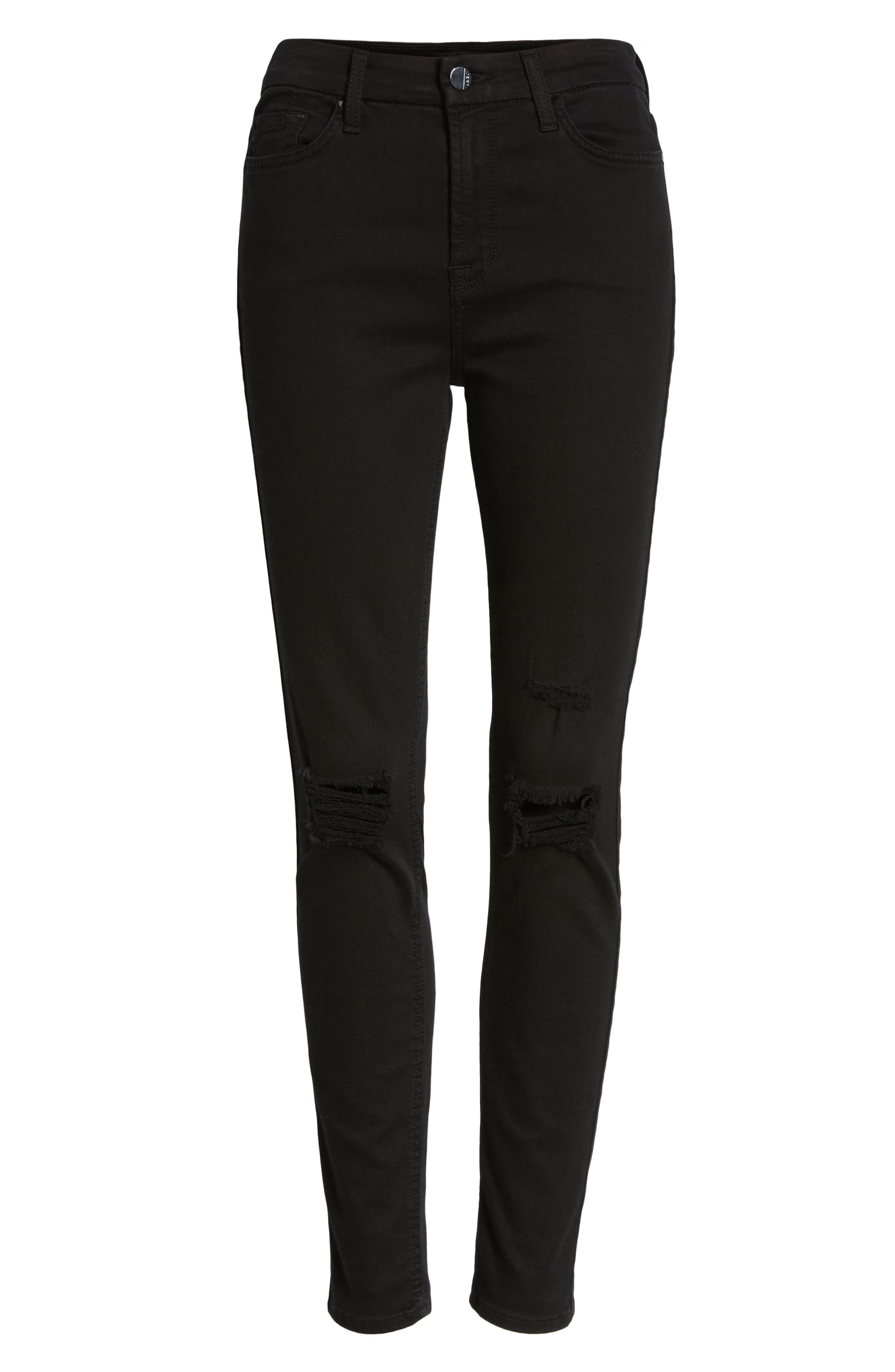 Ripped Ankle Skinny Jeans,                             Alternate thumbnail 7, color,                             Riche Touch Black Noir2