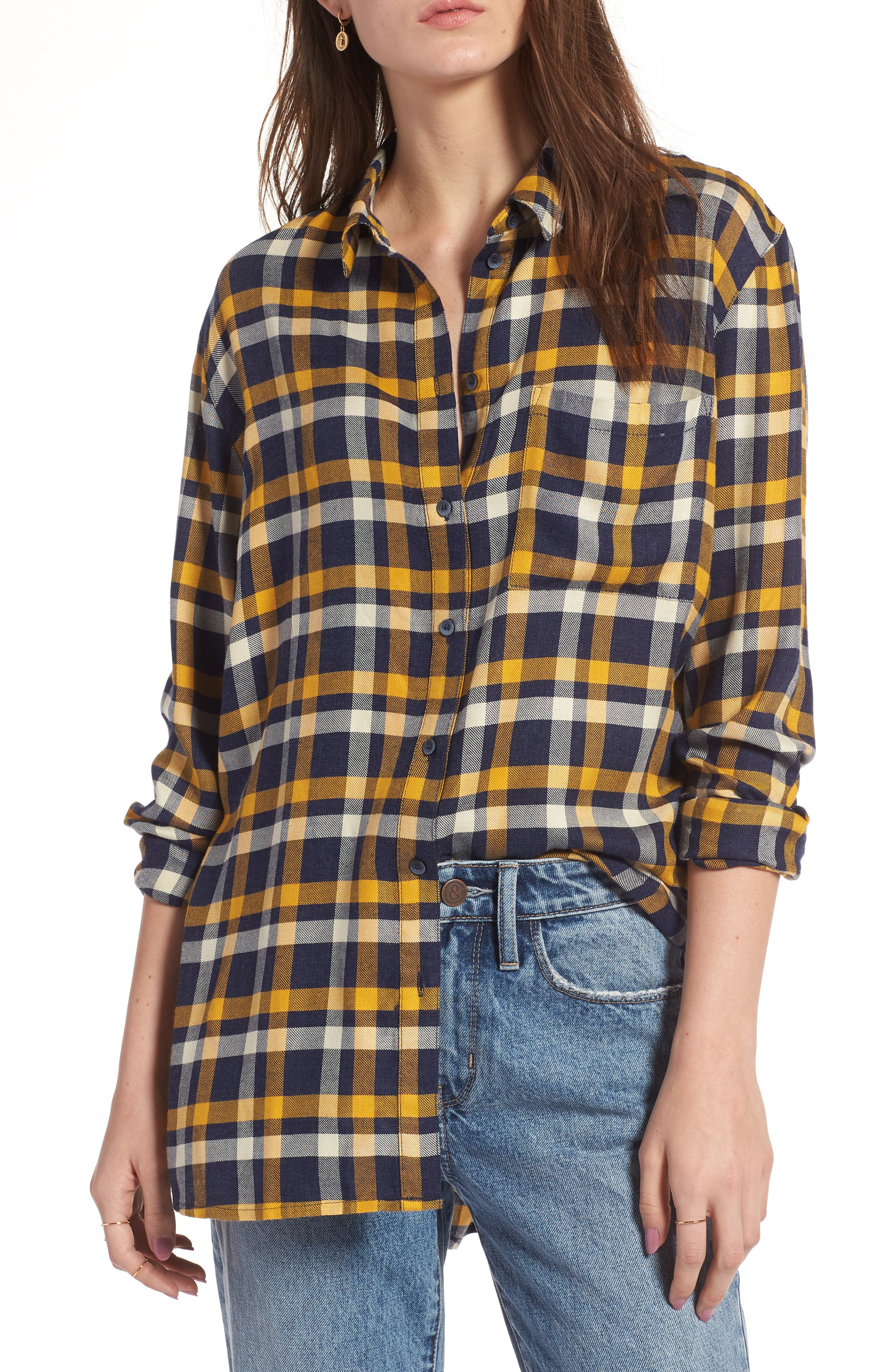Plaid Boyfriend Shirt,                             Main thumbnail 1, color,                             Navy Maritime Offset Wndw Pane