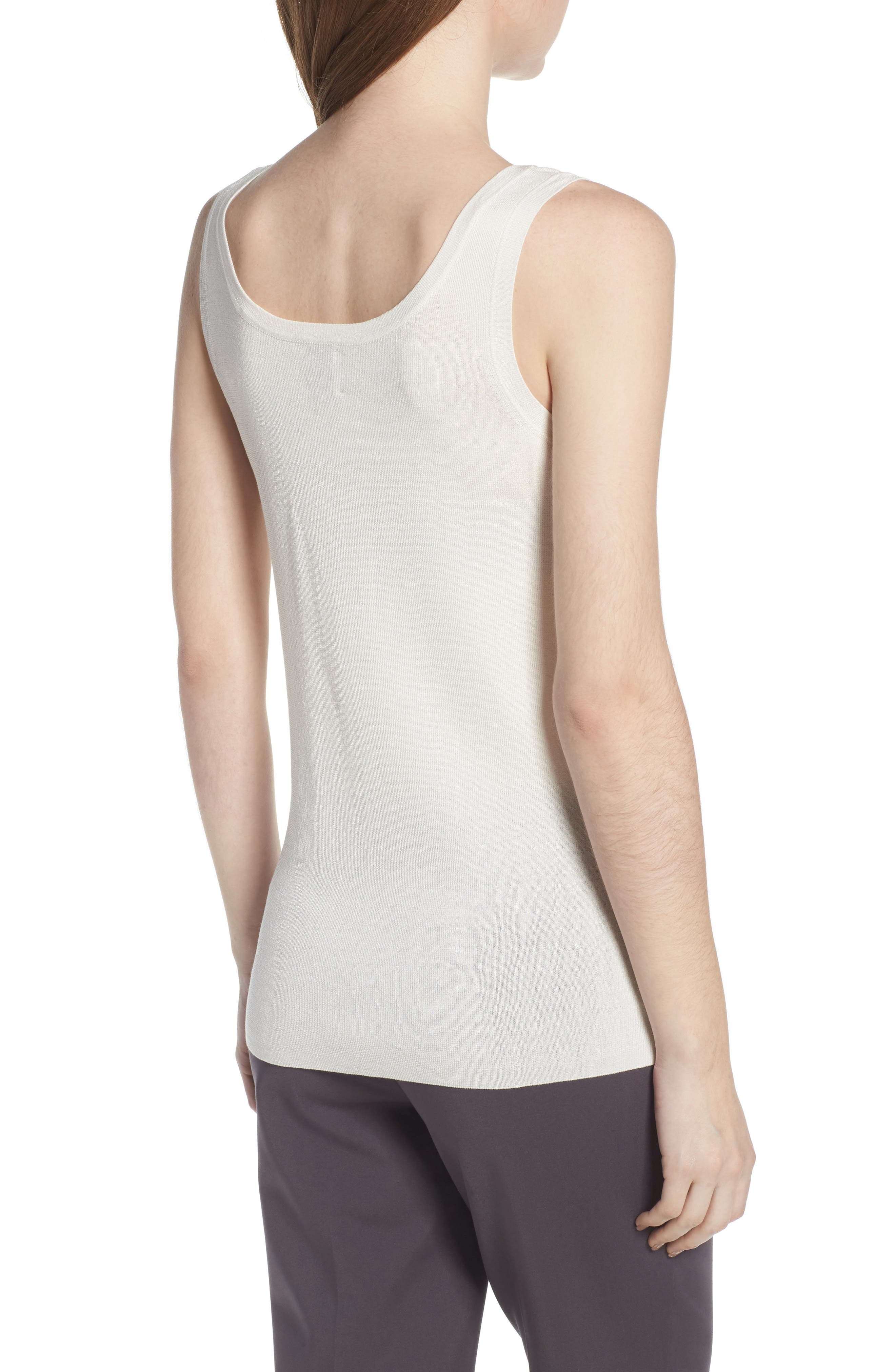 Sleeveless Knit Tank,                             Alternate thumbnail 2, color,                             White