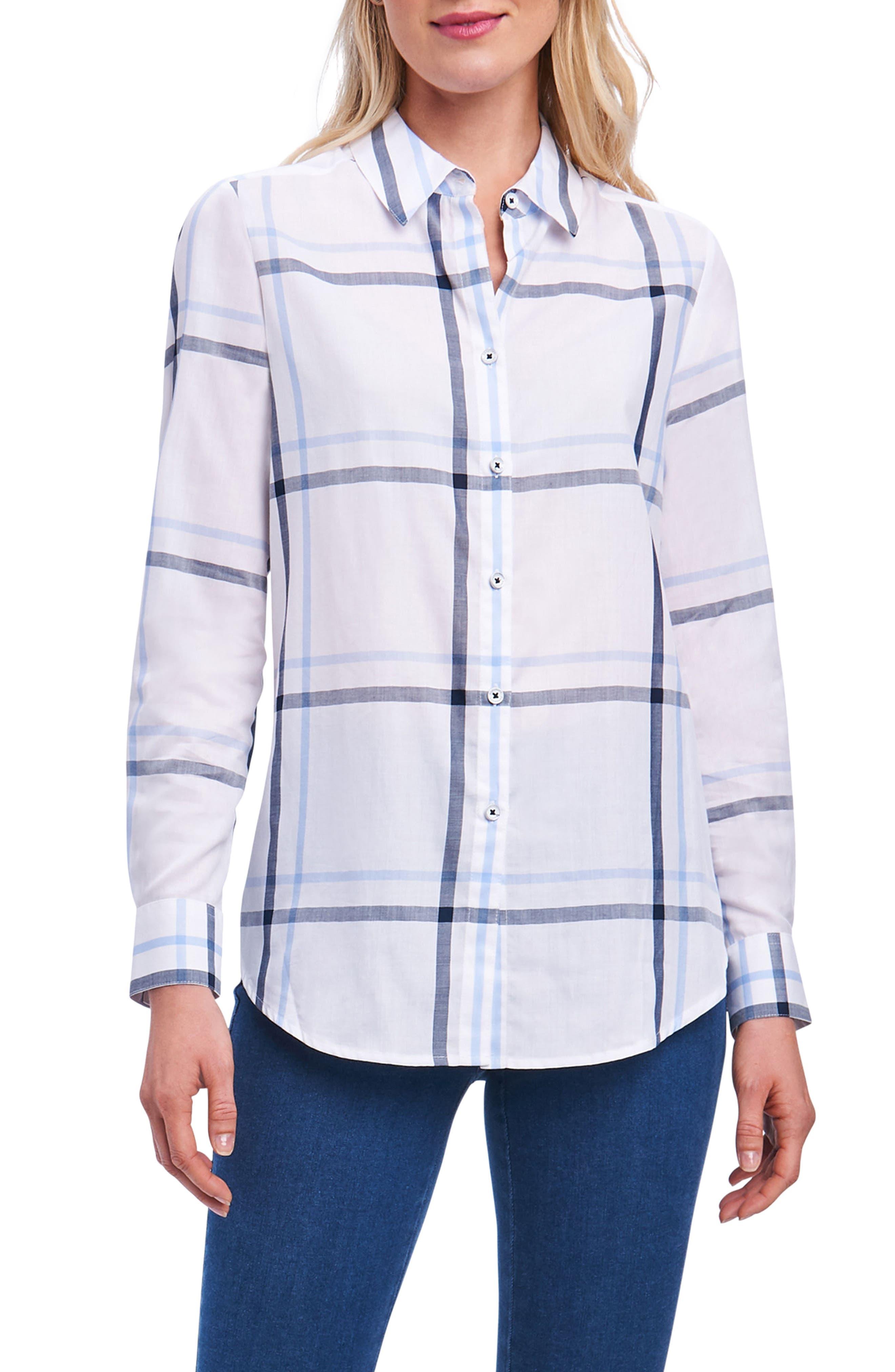 Coralie Plaid Woven Shirt,                             Main thumbnail 1, color,                             Harbor Blue