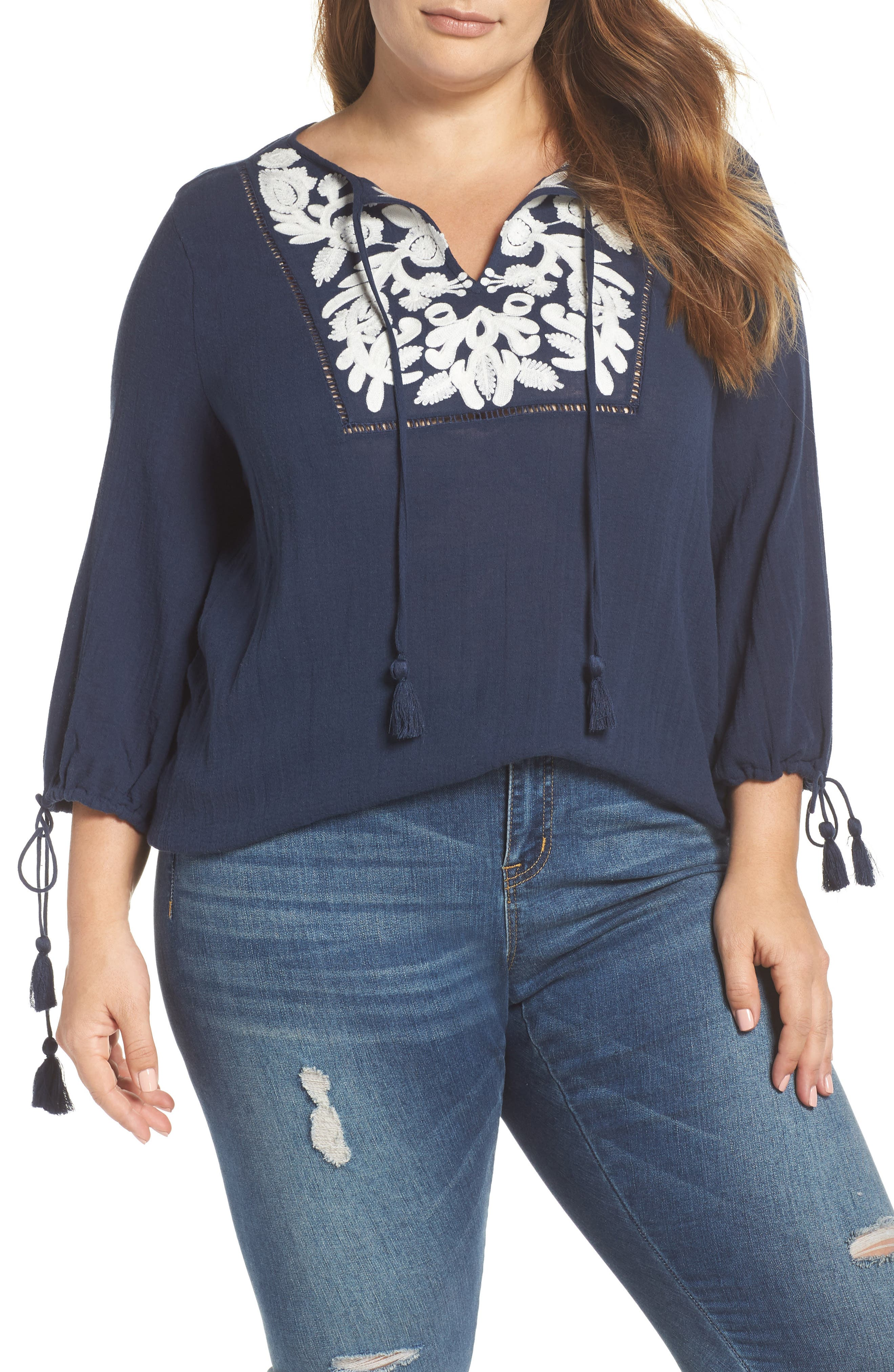 Embroidered Tassel Top,                         Main,                         color, American Navy