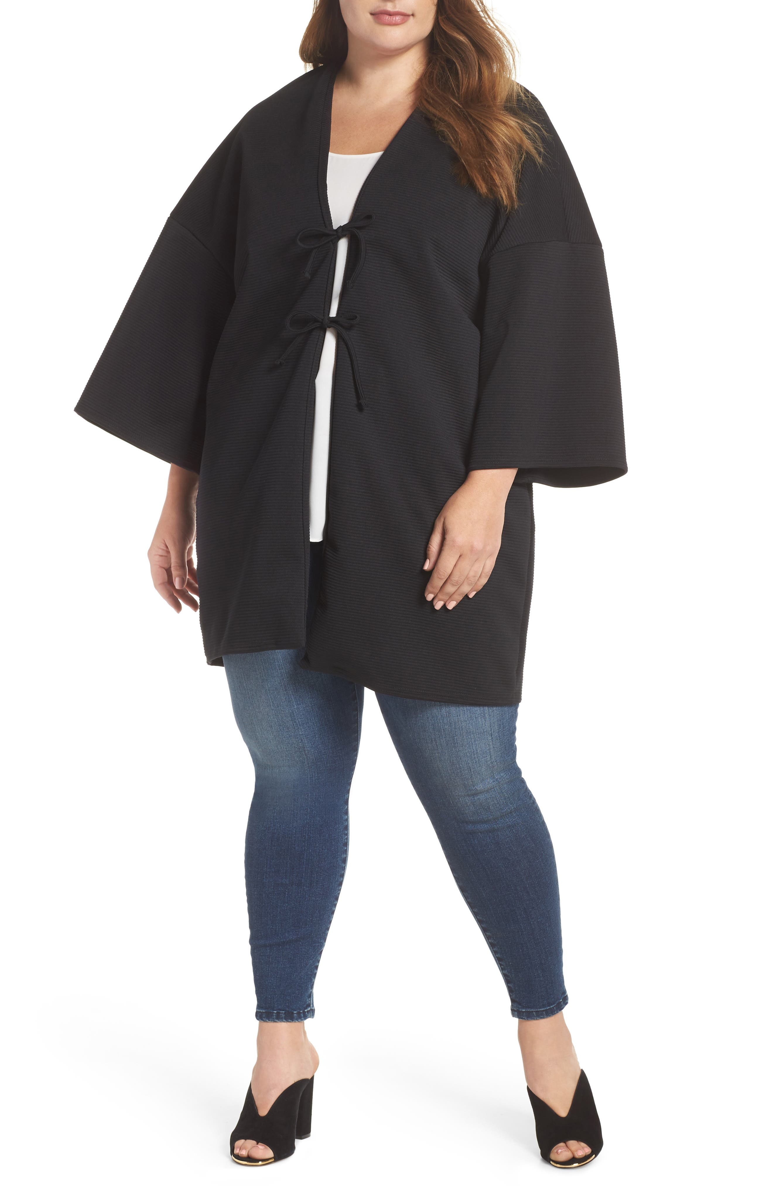 ELVI The Lacquer Bonded Jersey Kimono (Plus Size)