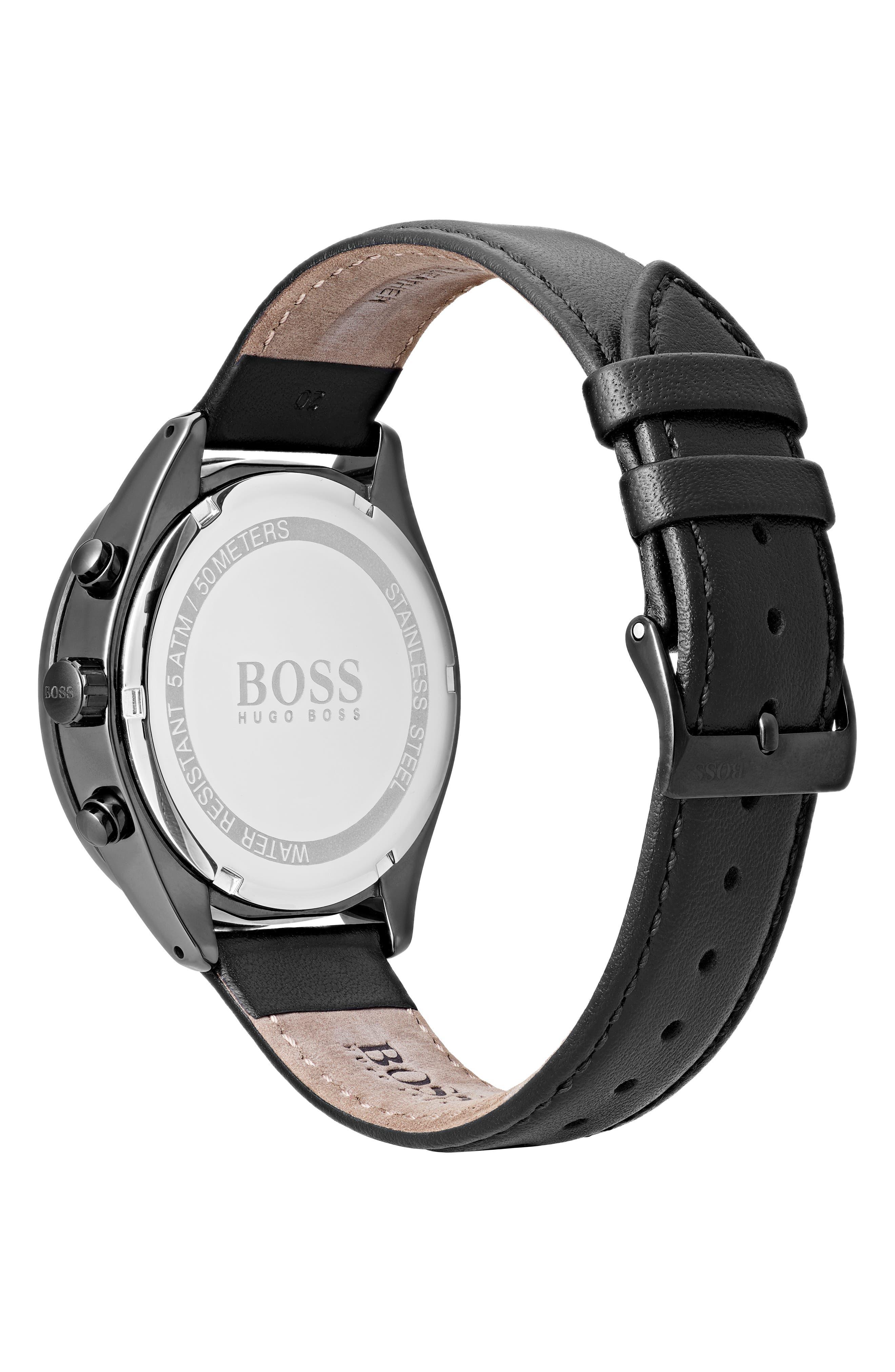 Talent Chronograph Leather Strap Watch, 42mm,                             Alternate thumbnail 2, color,                             Black