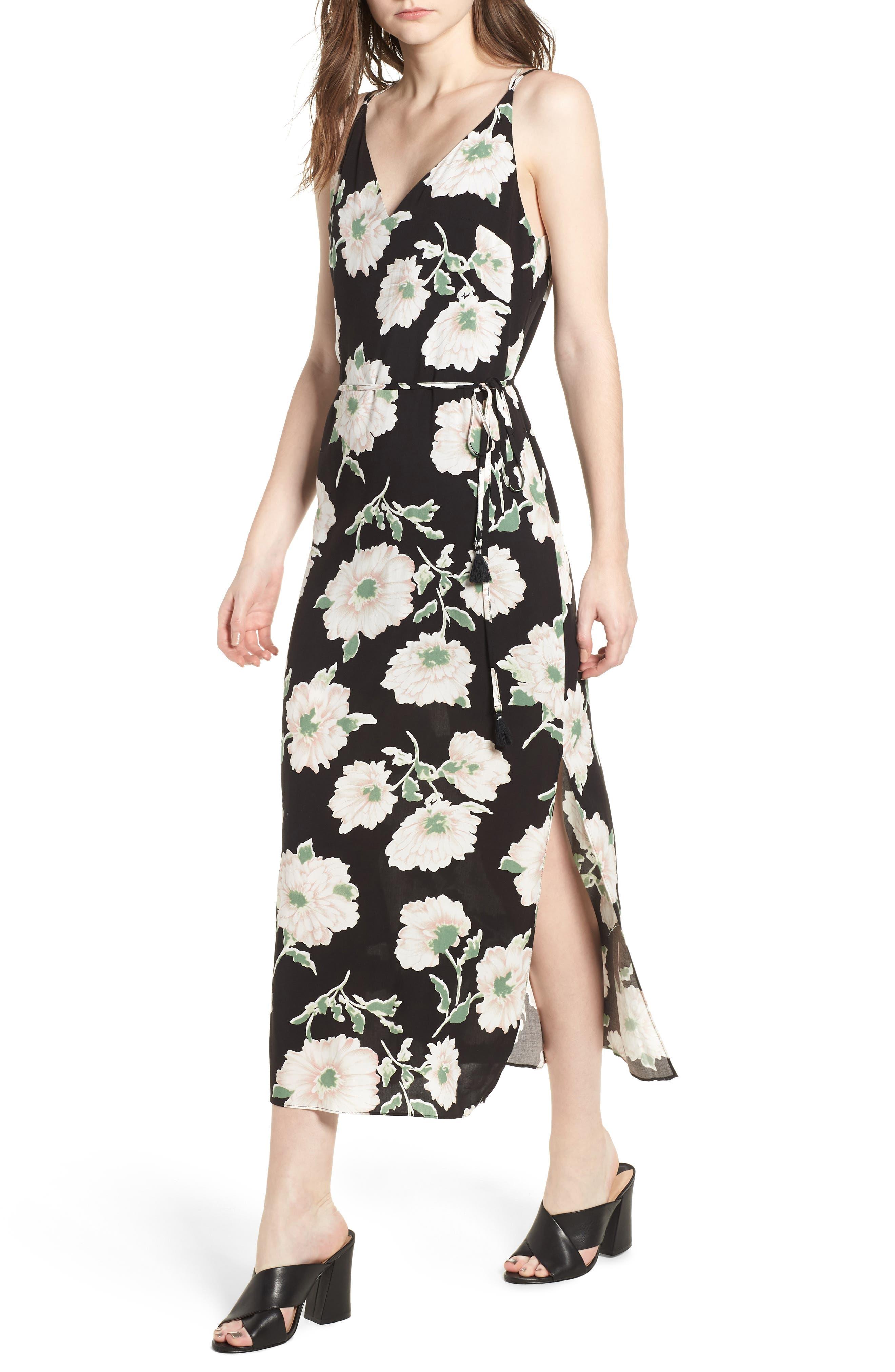 Tie Waist Maxi Dress,                         Main,                         color, 431 Black