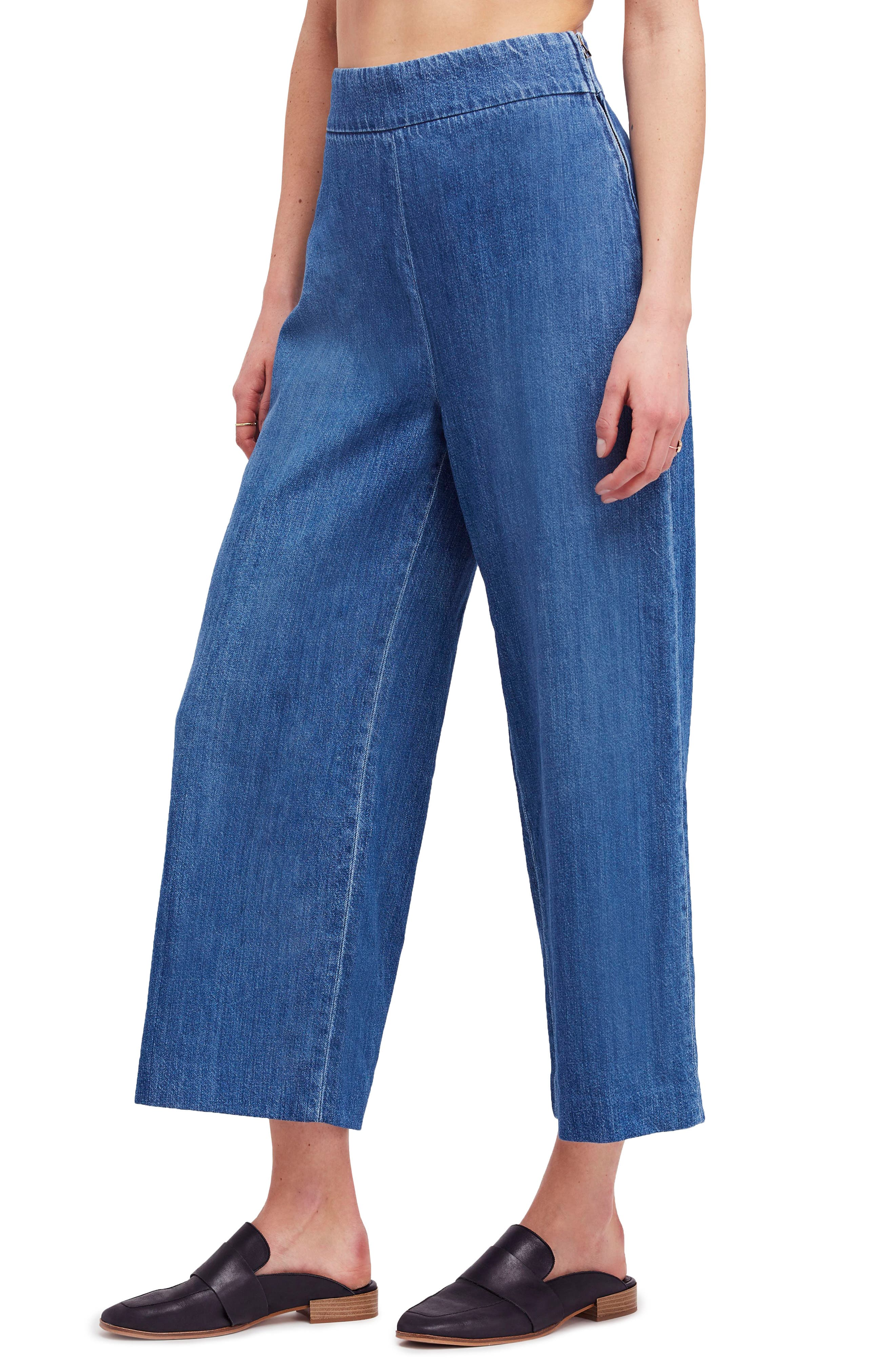 High Waist Crop Wide Leg Jeans,                         Main,                         color, Blue