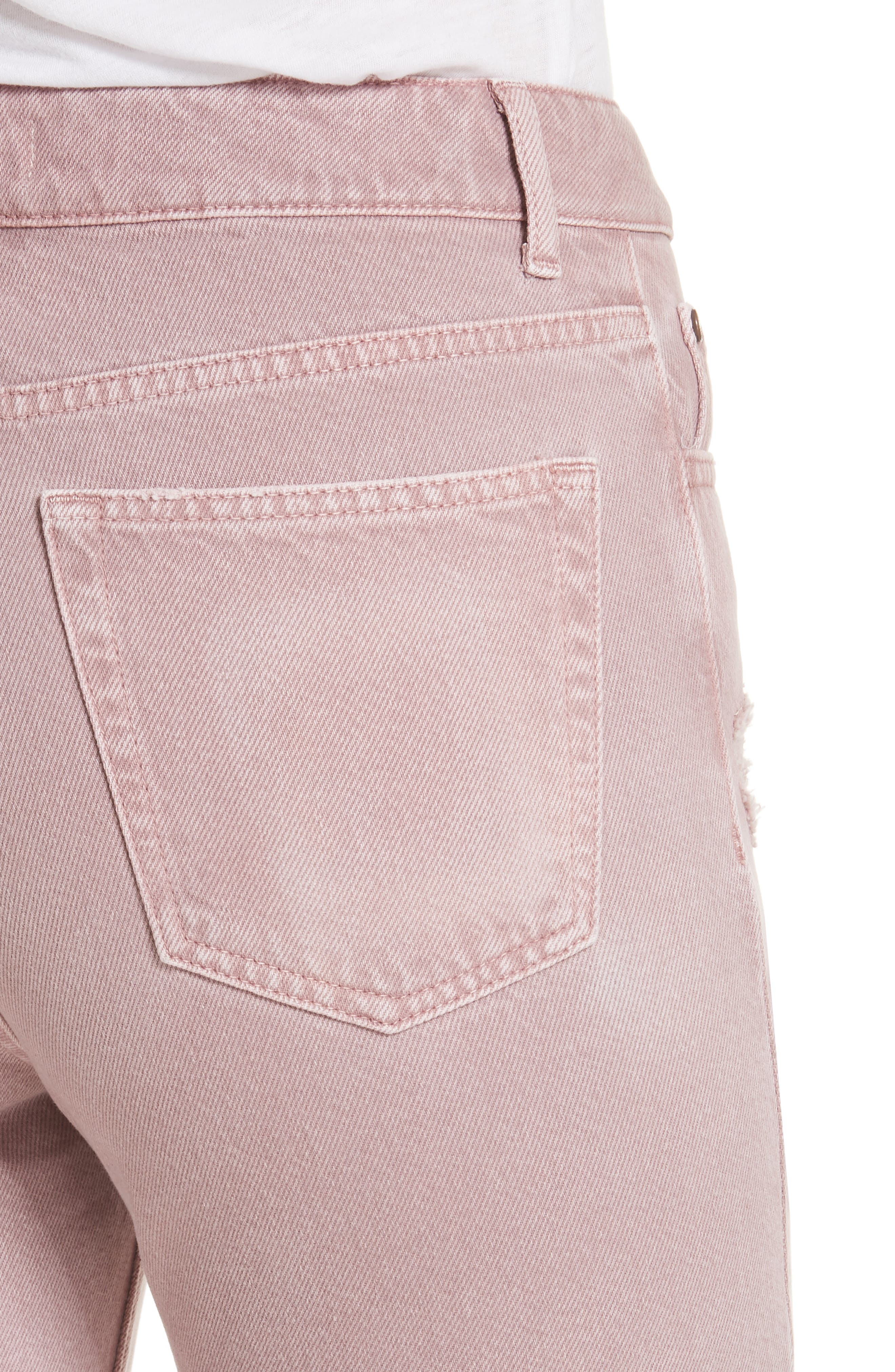 Ripped Raw Edge Jeans,                             Alternate thumbnail 4, color,                             Rose