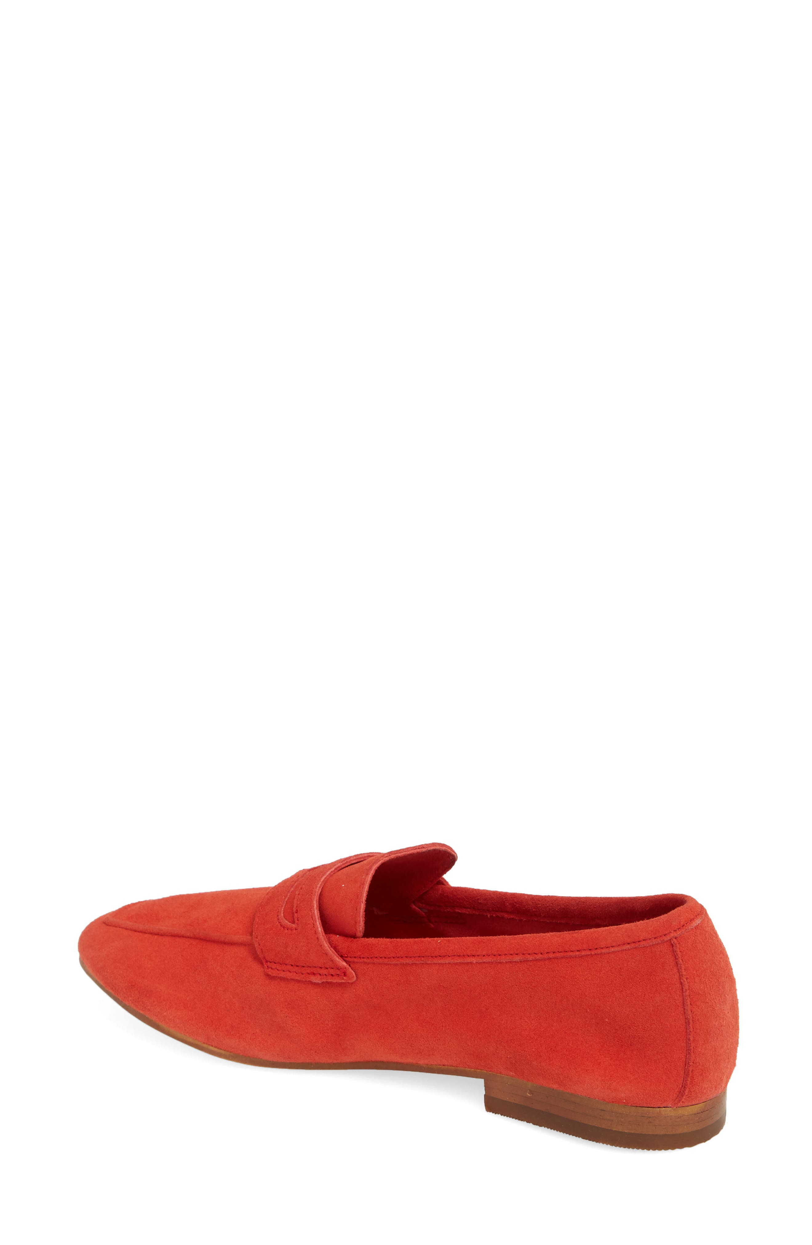 Dean Apron Toe Penny Loafer,                             Alternate thumbnail 2, color,                             Red Suede