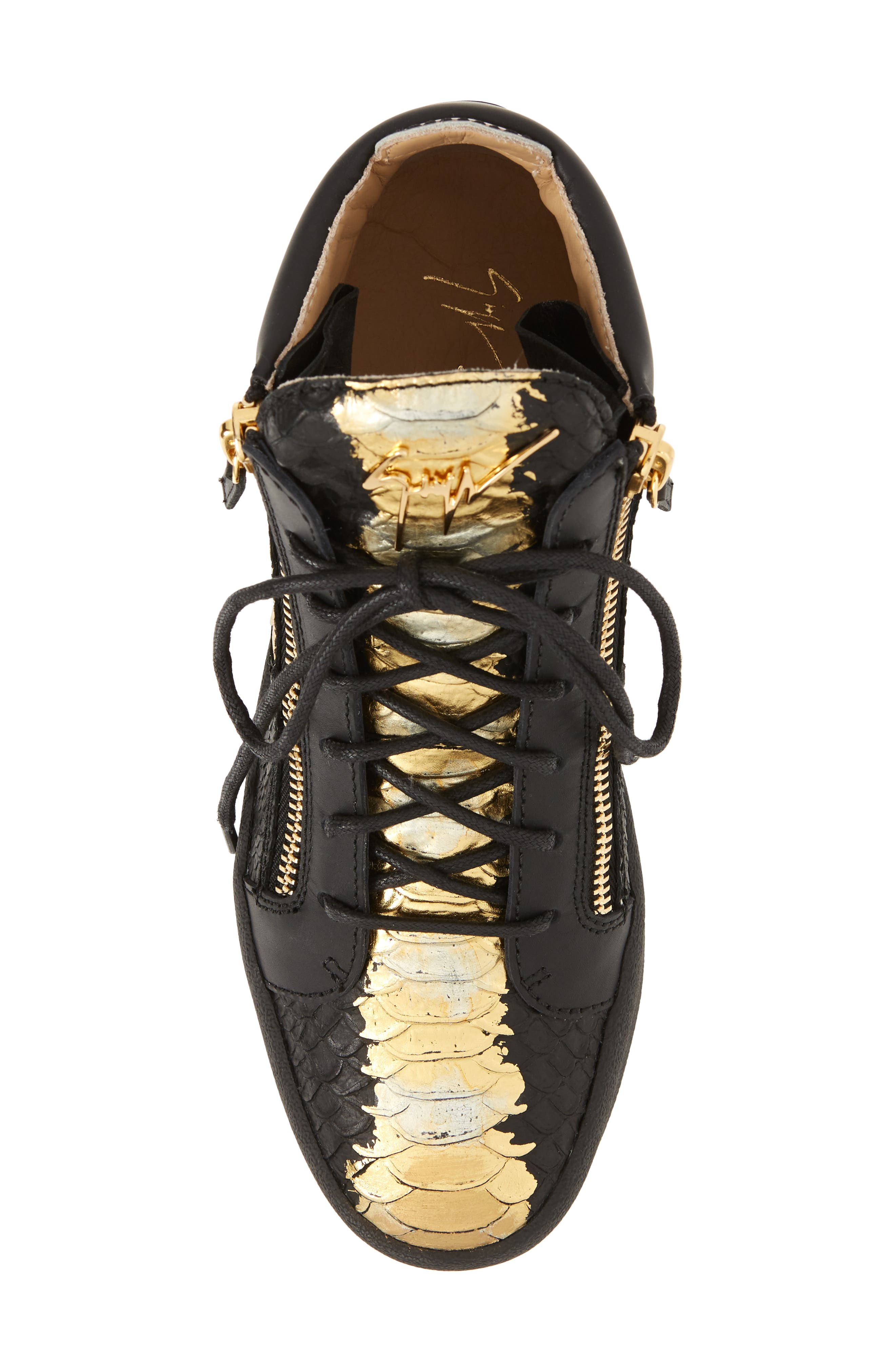 High-Top Sneaker,                             Alternate thumbnail 5, color,                             Black Leather