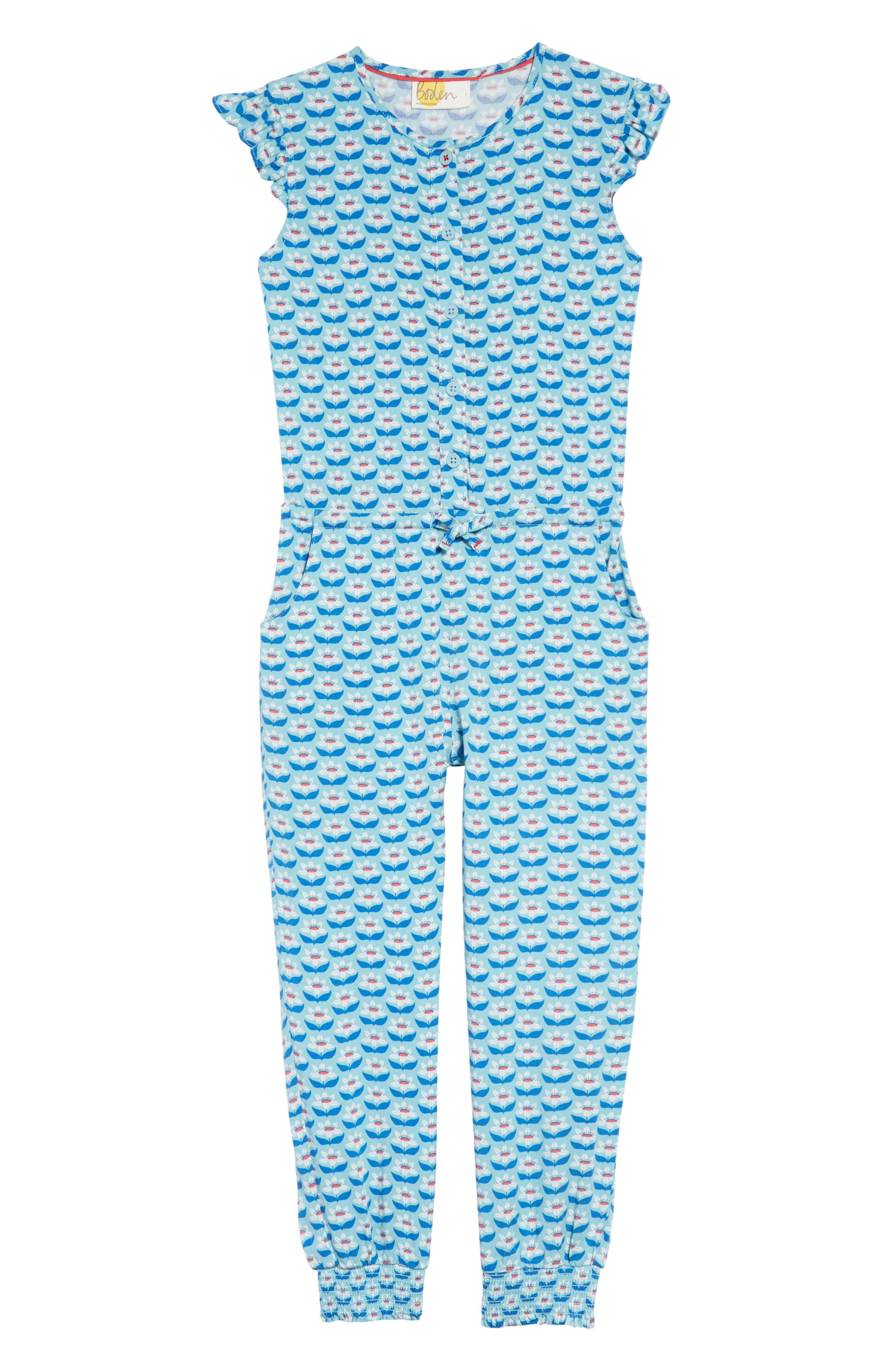 Flutter Sleeve Jumpsuit,                             Main thumbnail 1, color,                             Camper Blue Lotus