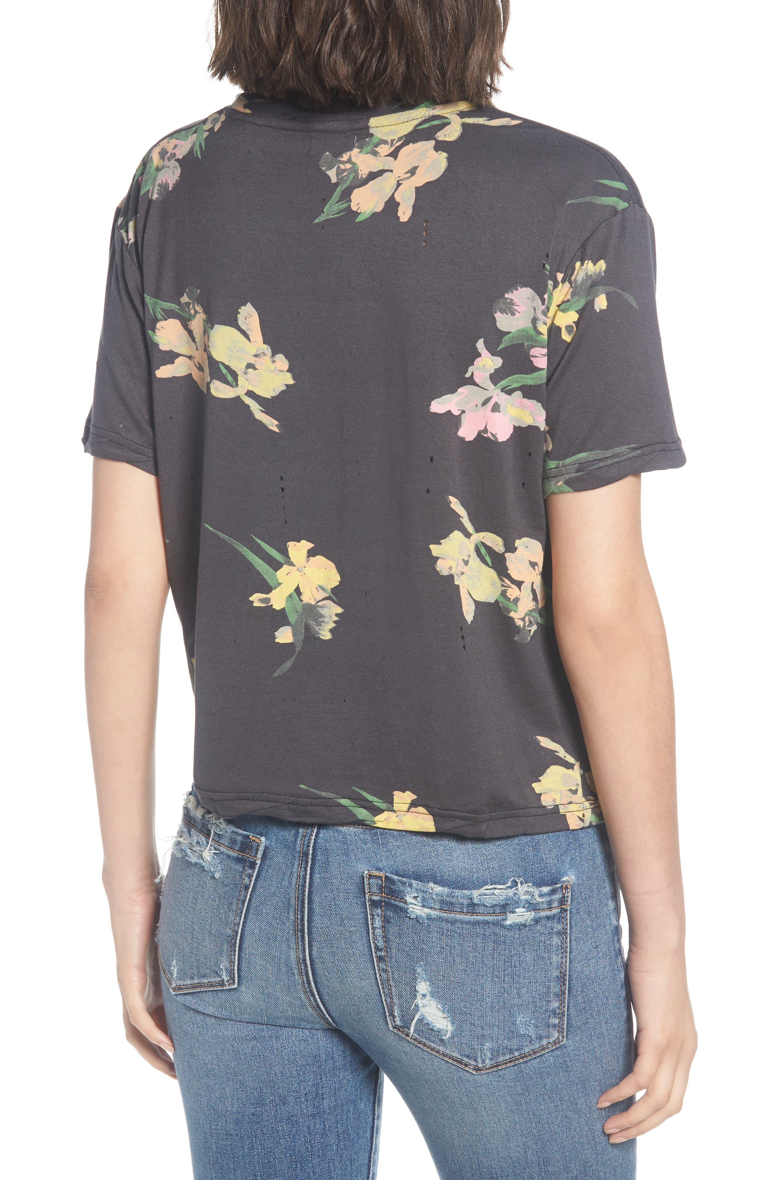 Floral Print Distressed Tee,                             Alternate thumbnail 2, color,                             Black Ground Floral