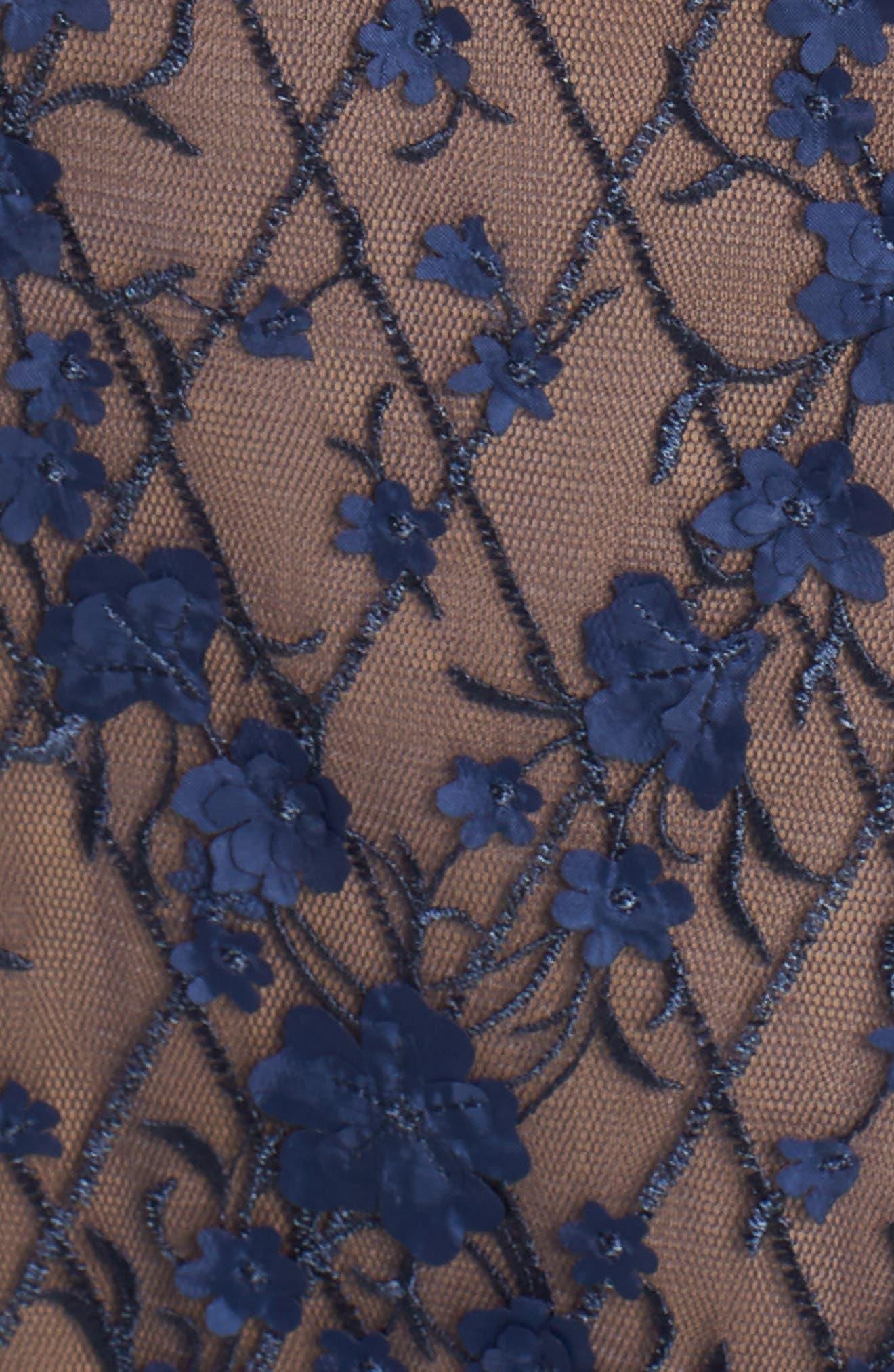 Diamond Mesh Gown,                             Alternate thumbnail 5, color,                             Midnight/ Nude