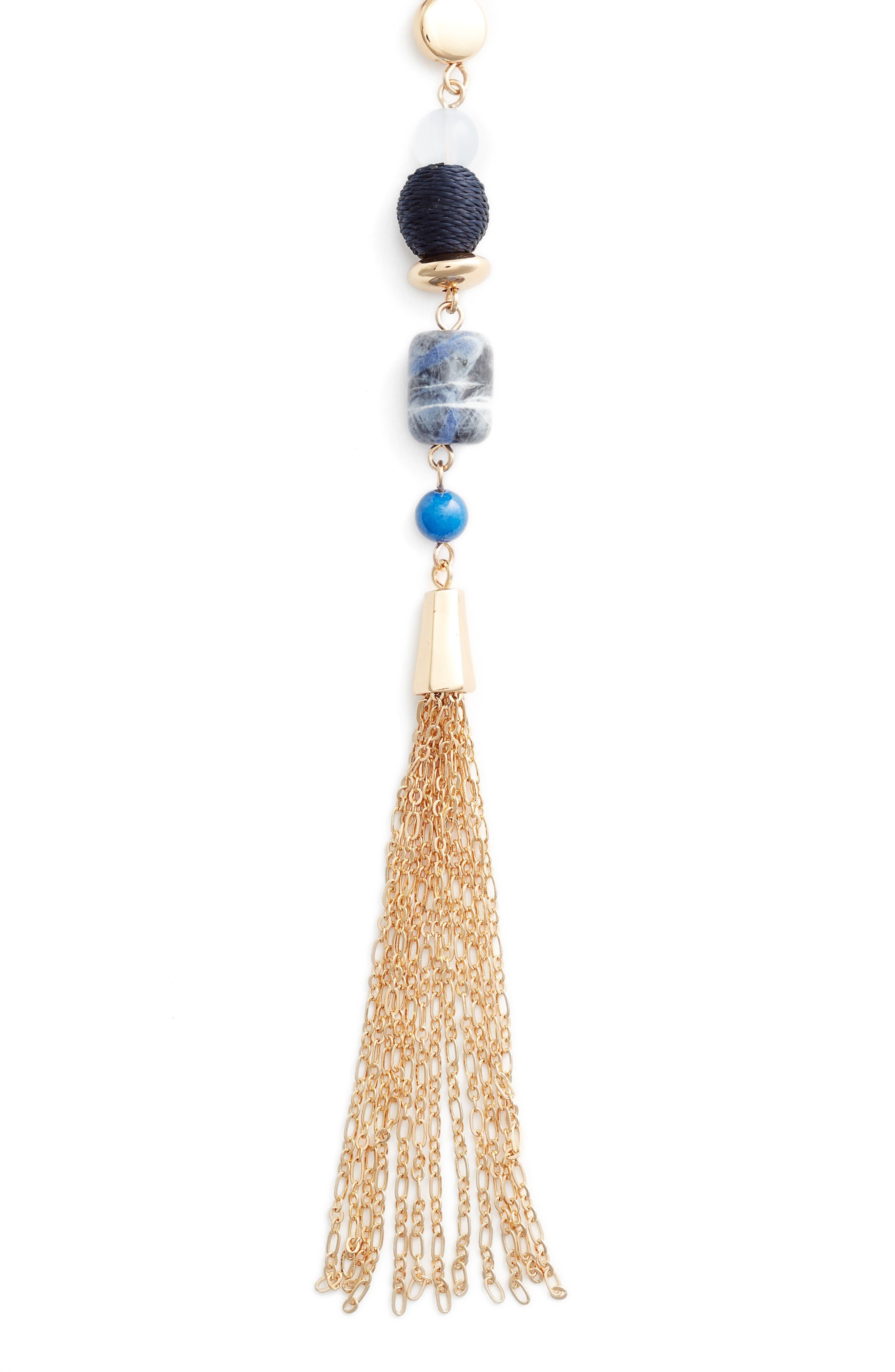 Halogen Beaded Tassle Y Necklace,                             Alternate thumbnail 2, color,                             Blue- Gold